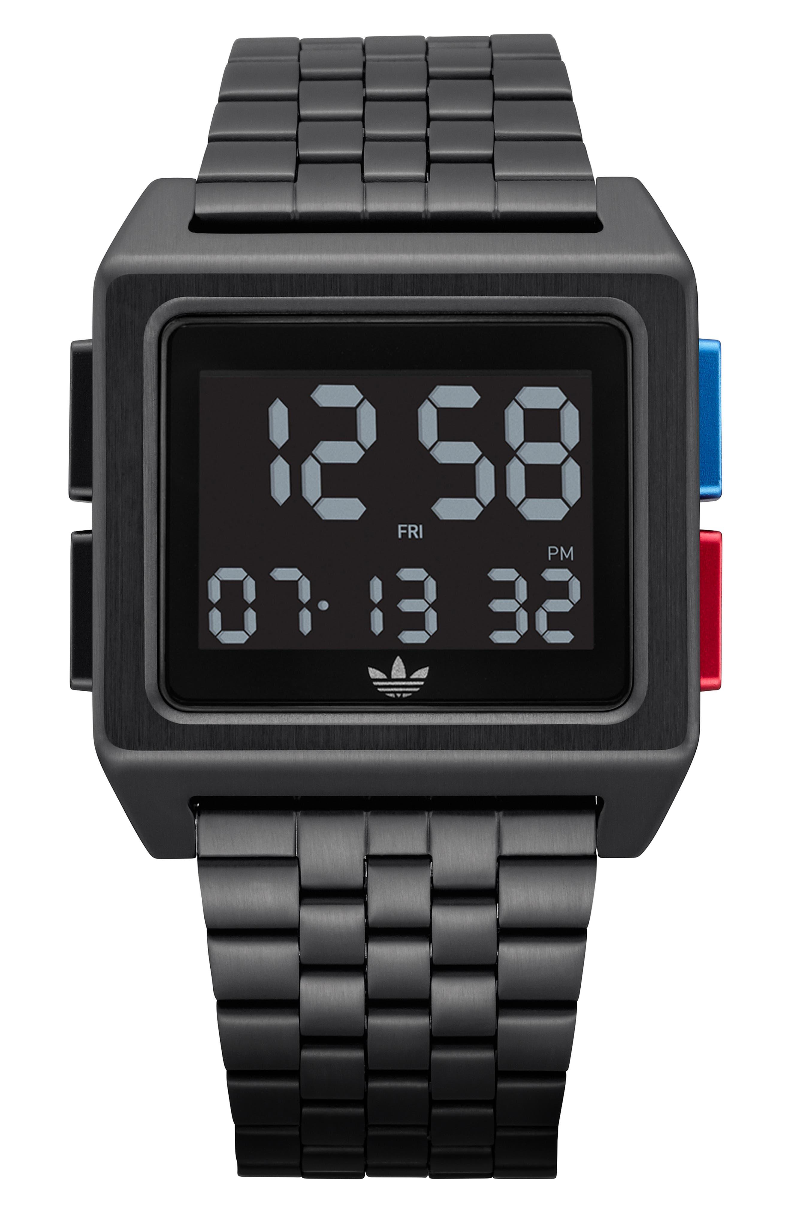 Archive Digital Bracelet Watch, 36mm,                             Main thumbnail 1, color,                             BLACK/ BLUE/ RED