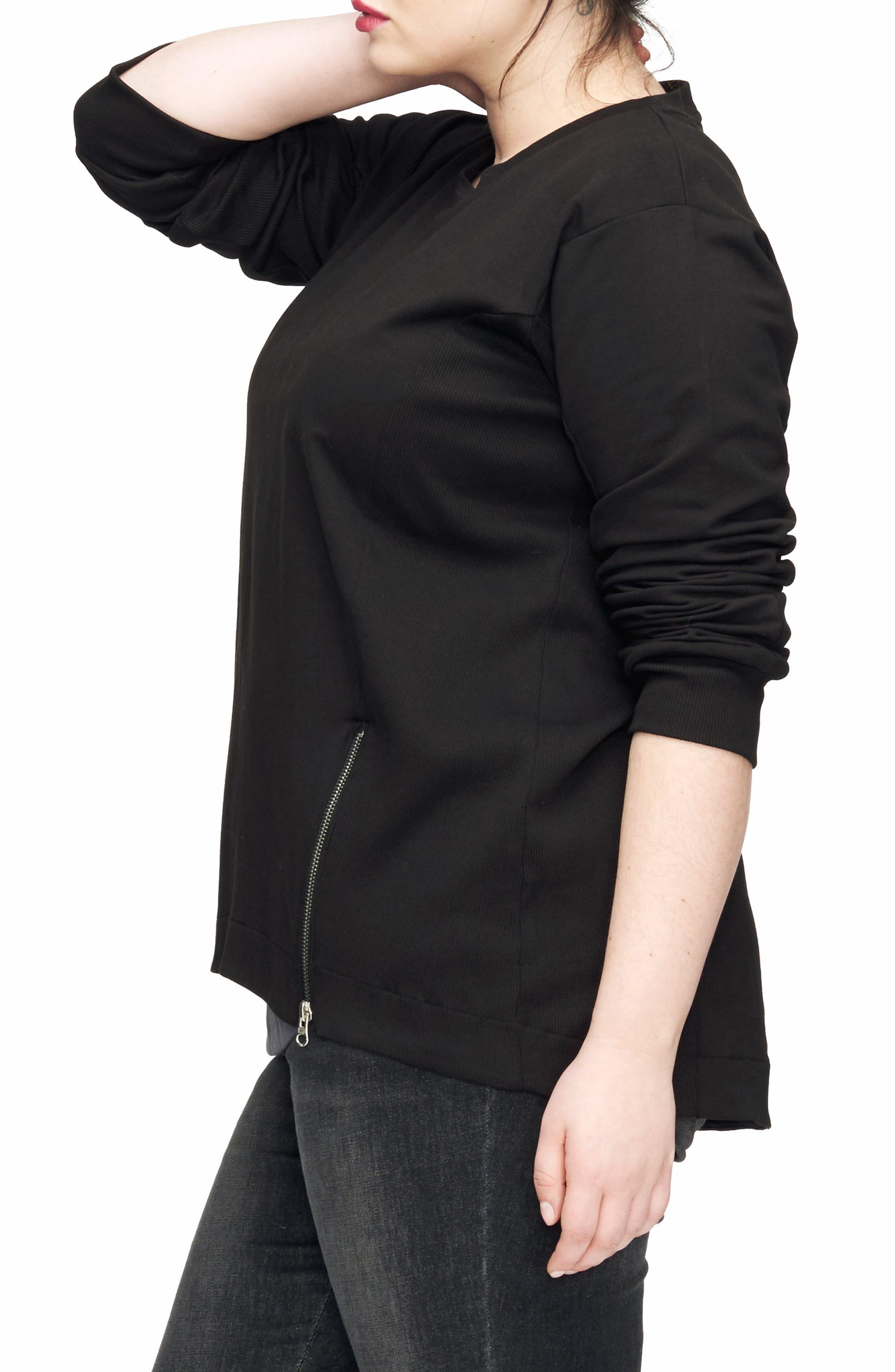 Corbelle Zip Hem Sweatshirt,                             Alternate thumbnail 3, color,                             BLACK