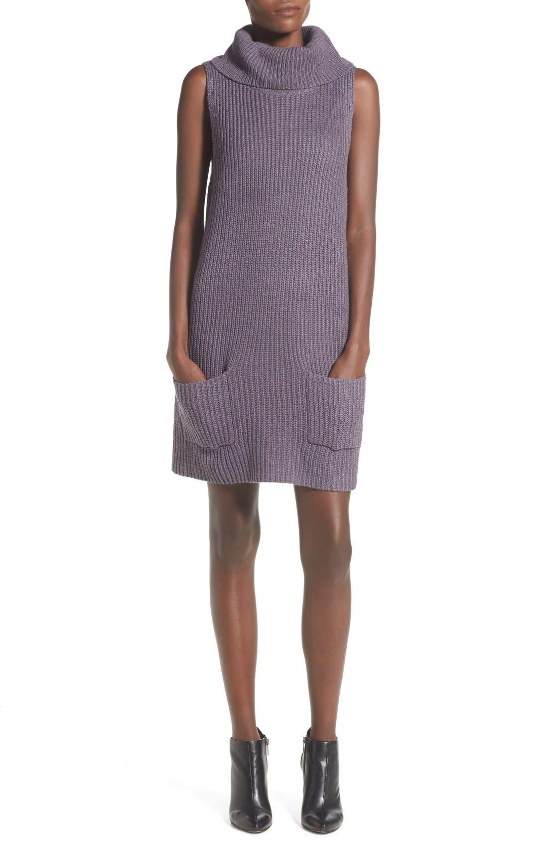 Sleeveless Turtleneck Sweater Dress,                             Main thumbnail 1, color,                             021