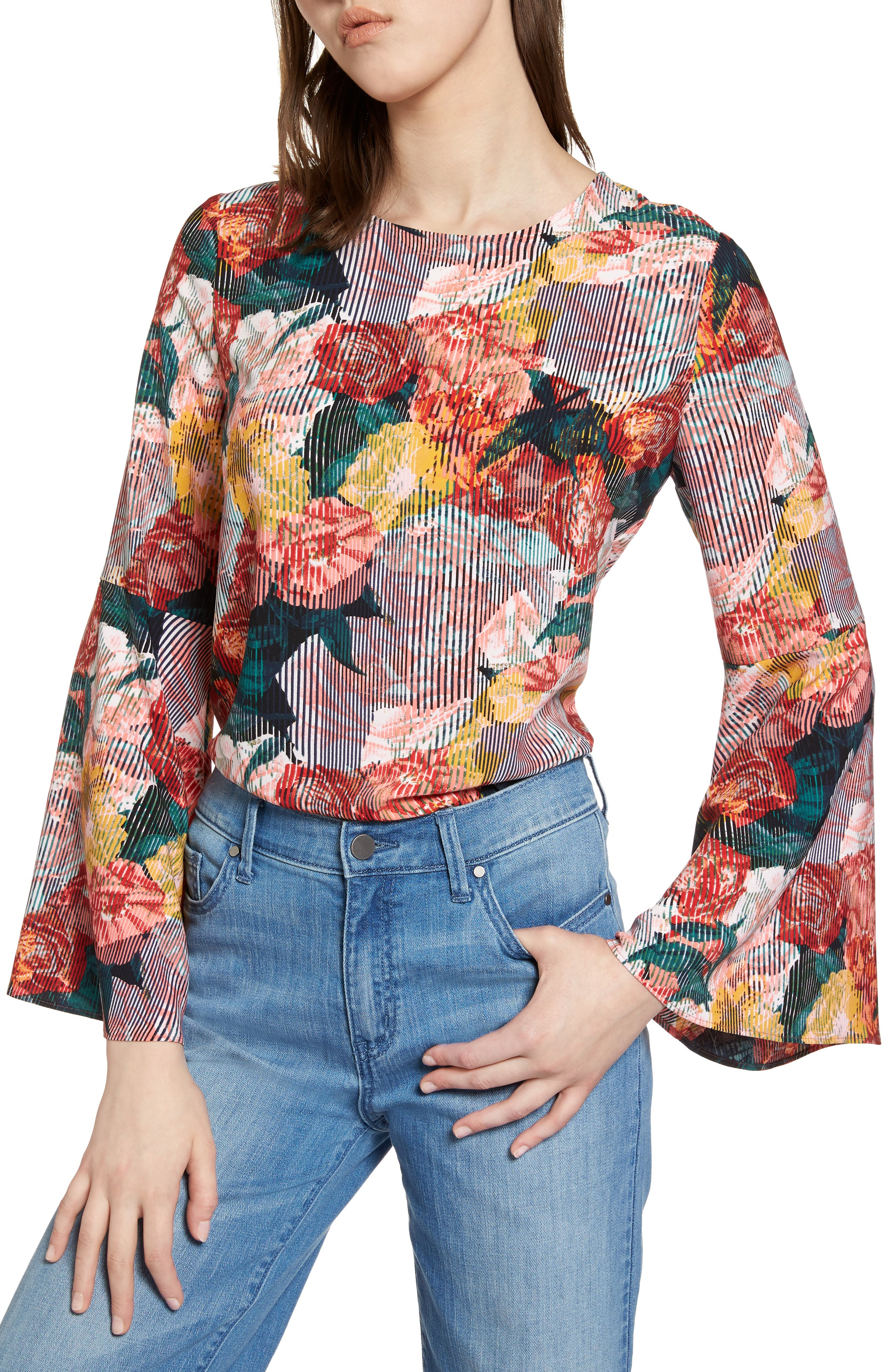 Bow Back Print Flare Sleeve Tunic,                         Main,                         color,
