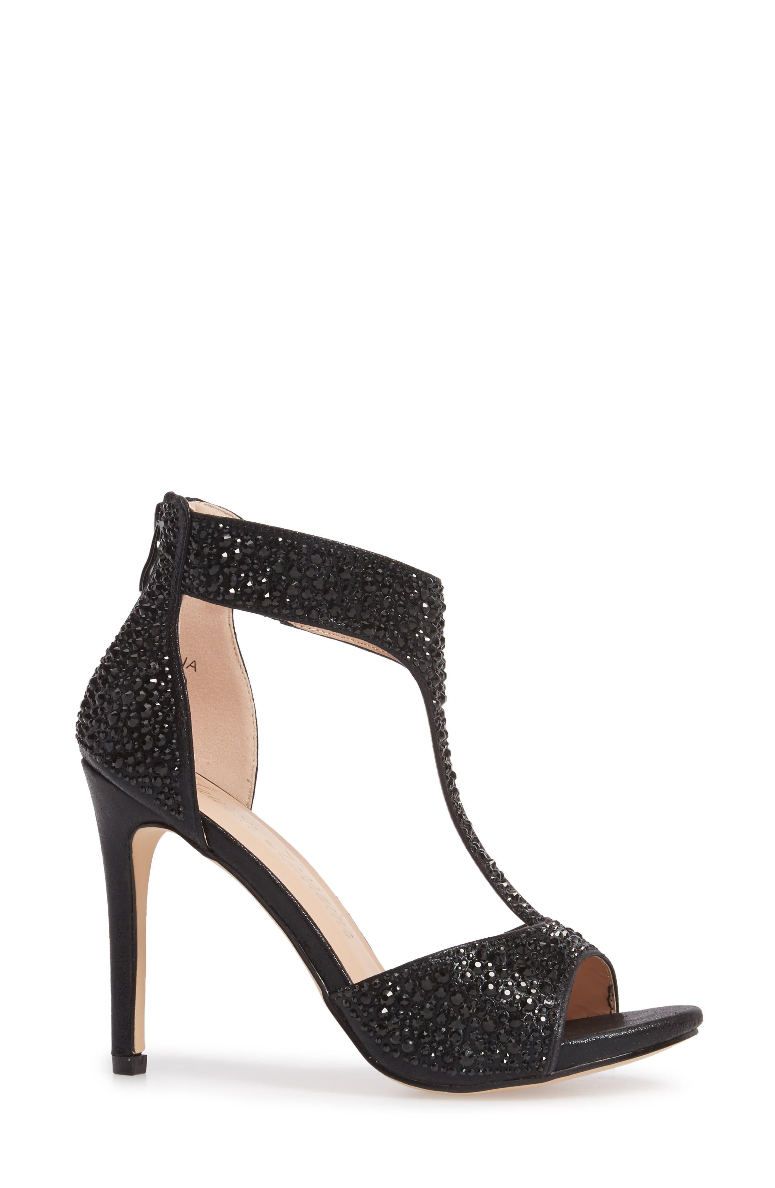 Ina Crystal Embellished Sandal,                             Alternate thumbnail 3, color,                             BLACK