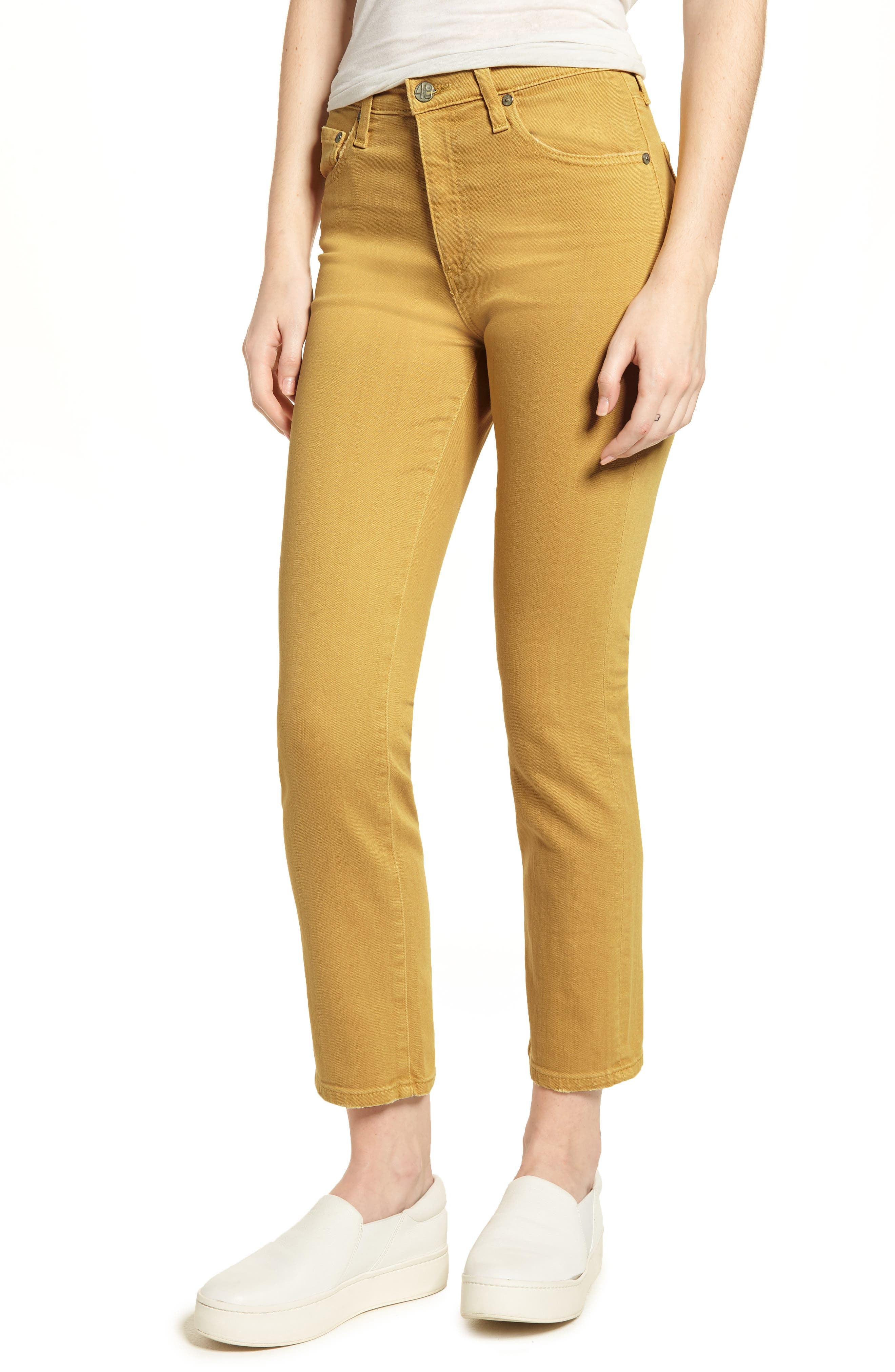The Isabelle High Waist Crop Straight Leg Jeans,                             Main thumbnail 3, color,