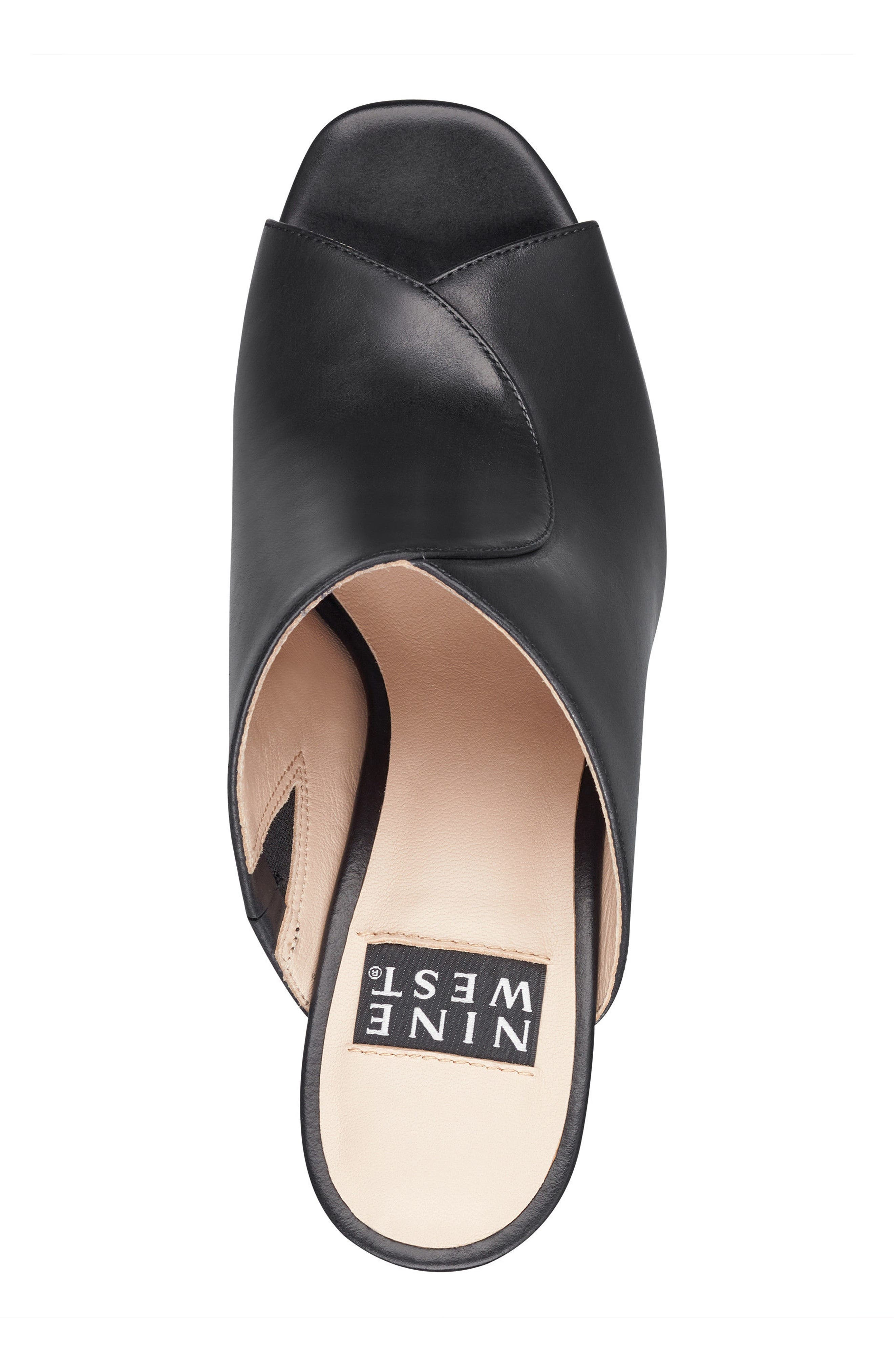 Lisana - 40th Anniversary Capsule Collection Platform Slide Sandal,                             Alternate thumbnail 5, color,                             BLACK LEATHER