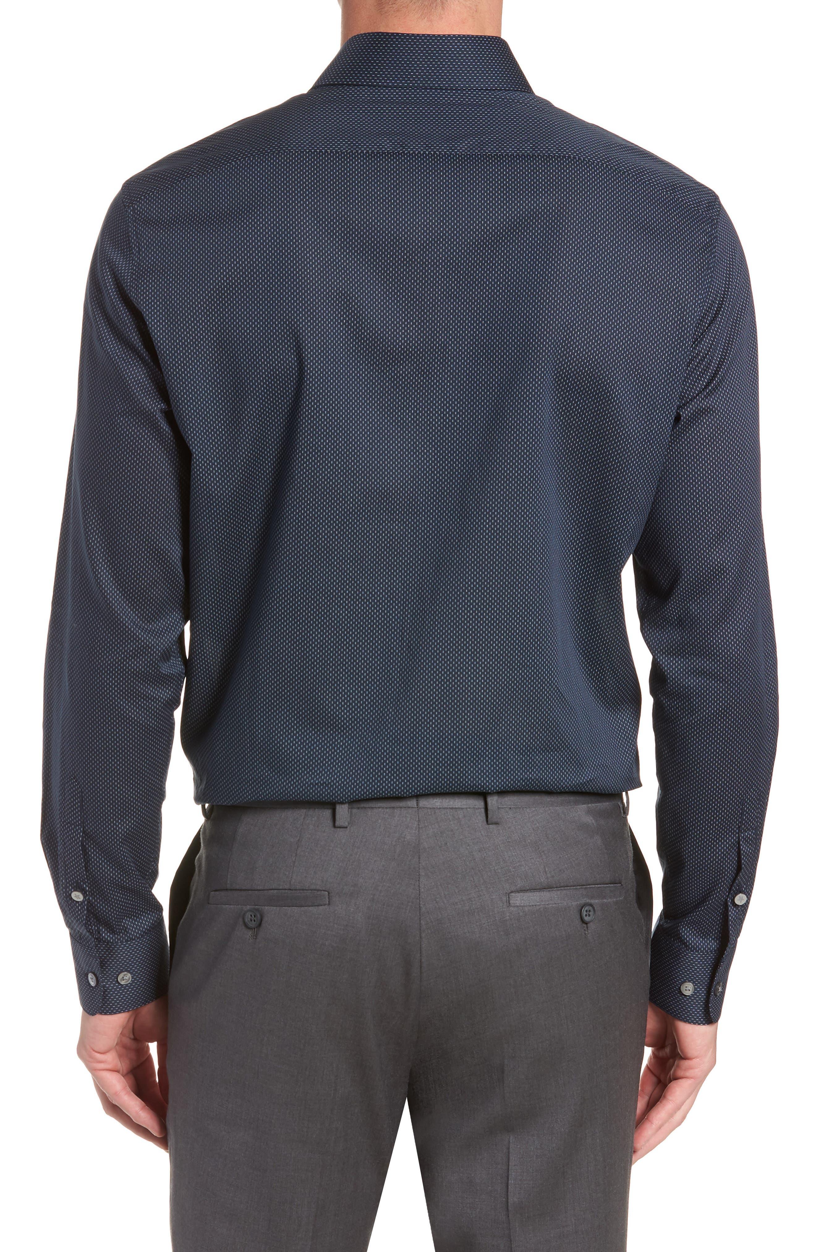 Regular Fit Dot Dress Shirt,                             Alternate thumbnail 3, color,                             INDIGO