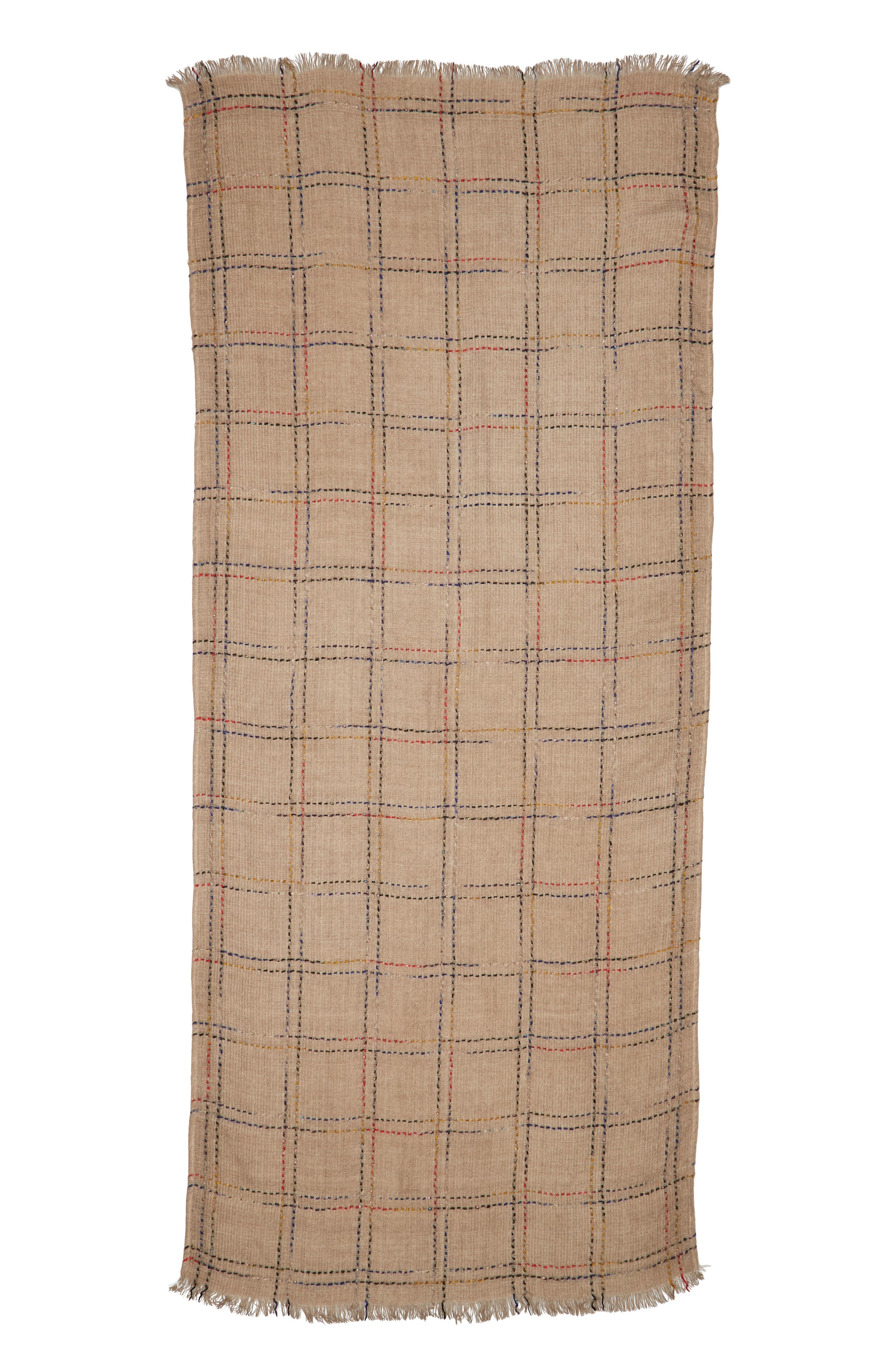 Multicolor Grid Scarf,                             Alternate thumbnail 2, color,                             TAN