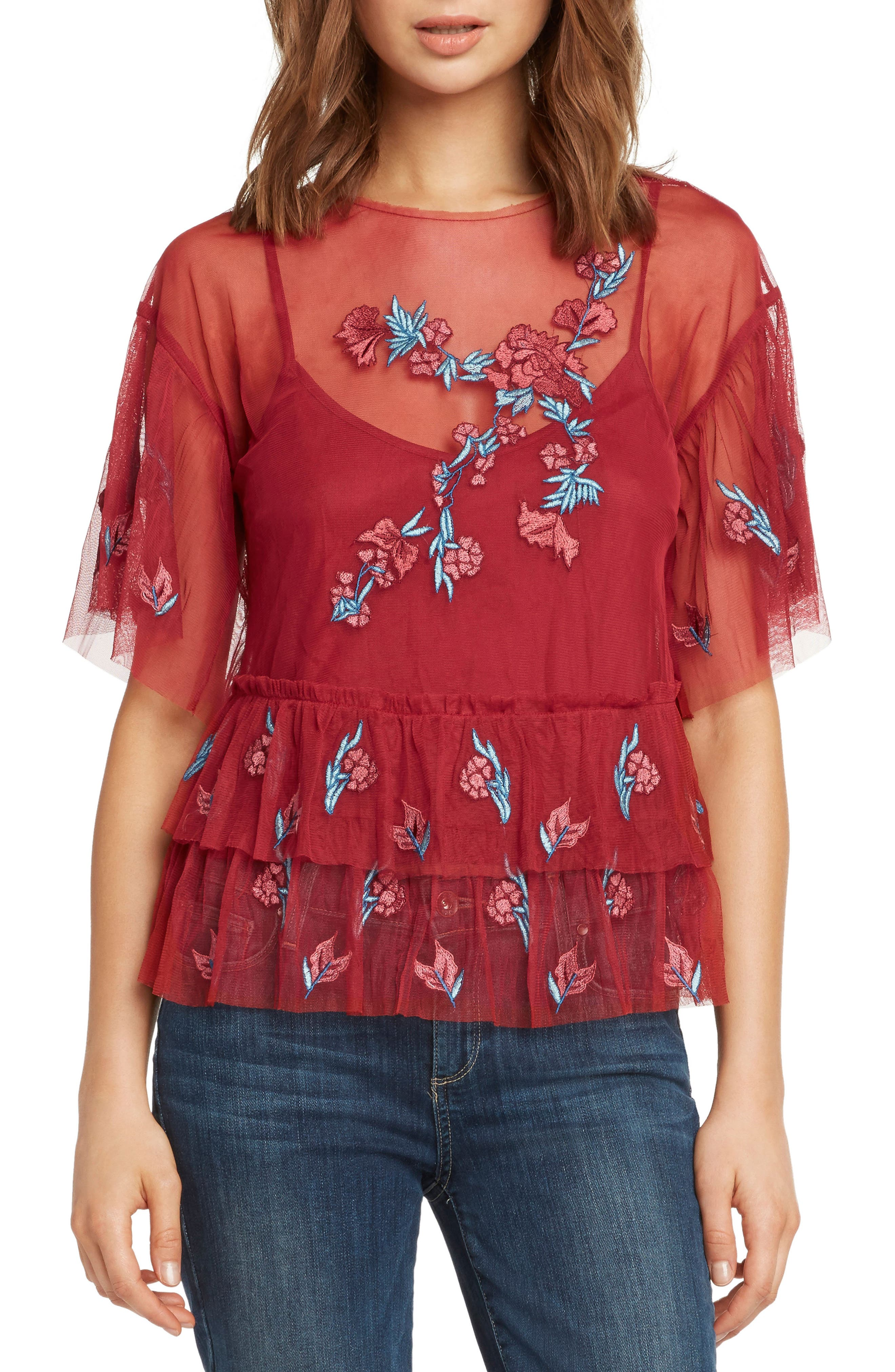 Embroidered Ruffle Top,                         Main,                         color, SCARLET