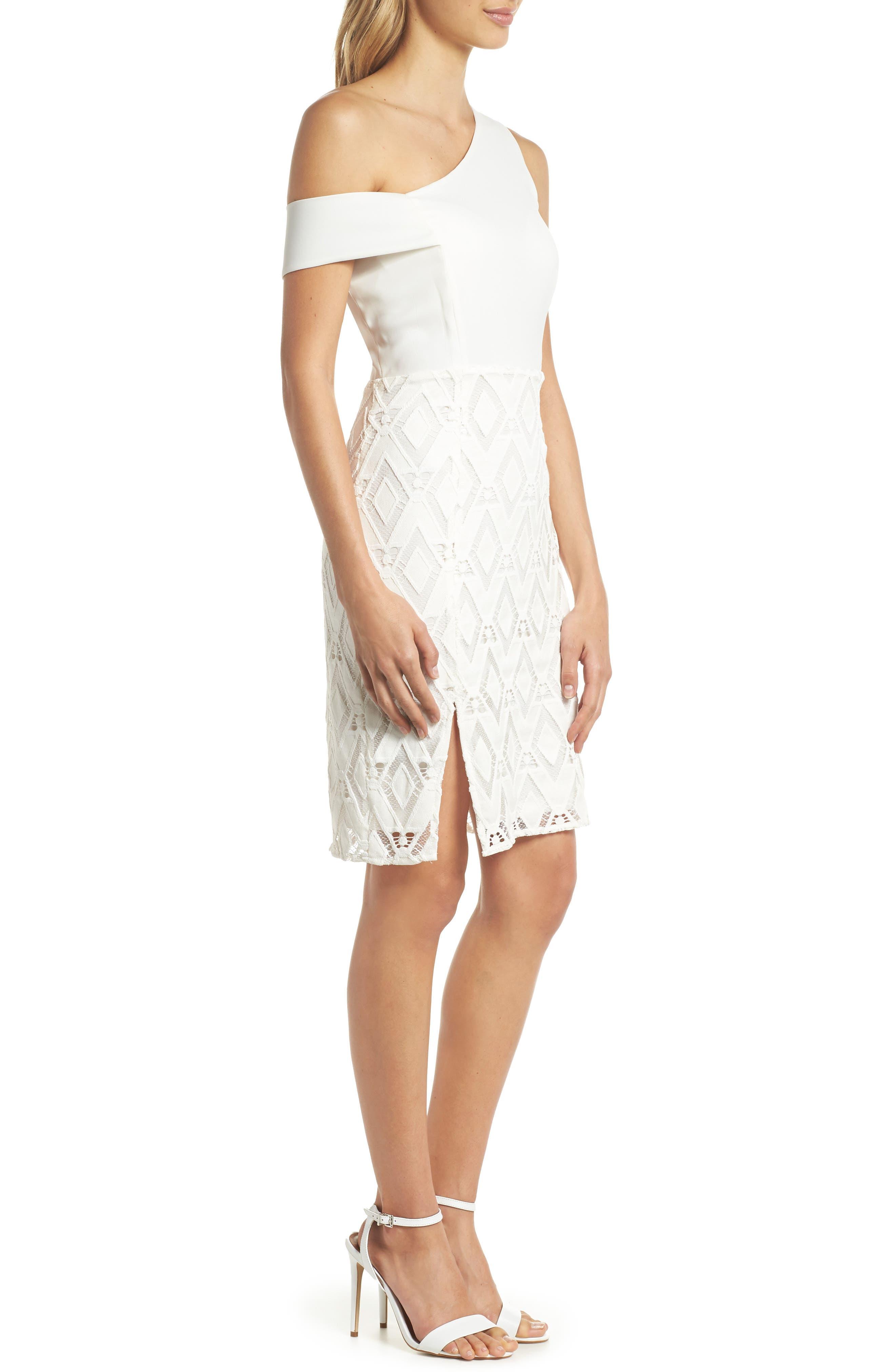 One-Shoulder Lace Sheath Dress,                             Alternate thumbnail 3, color,