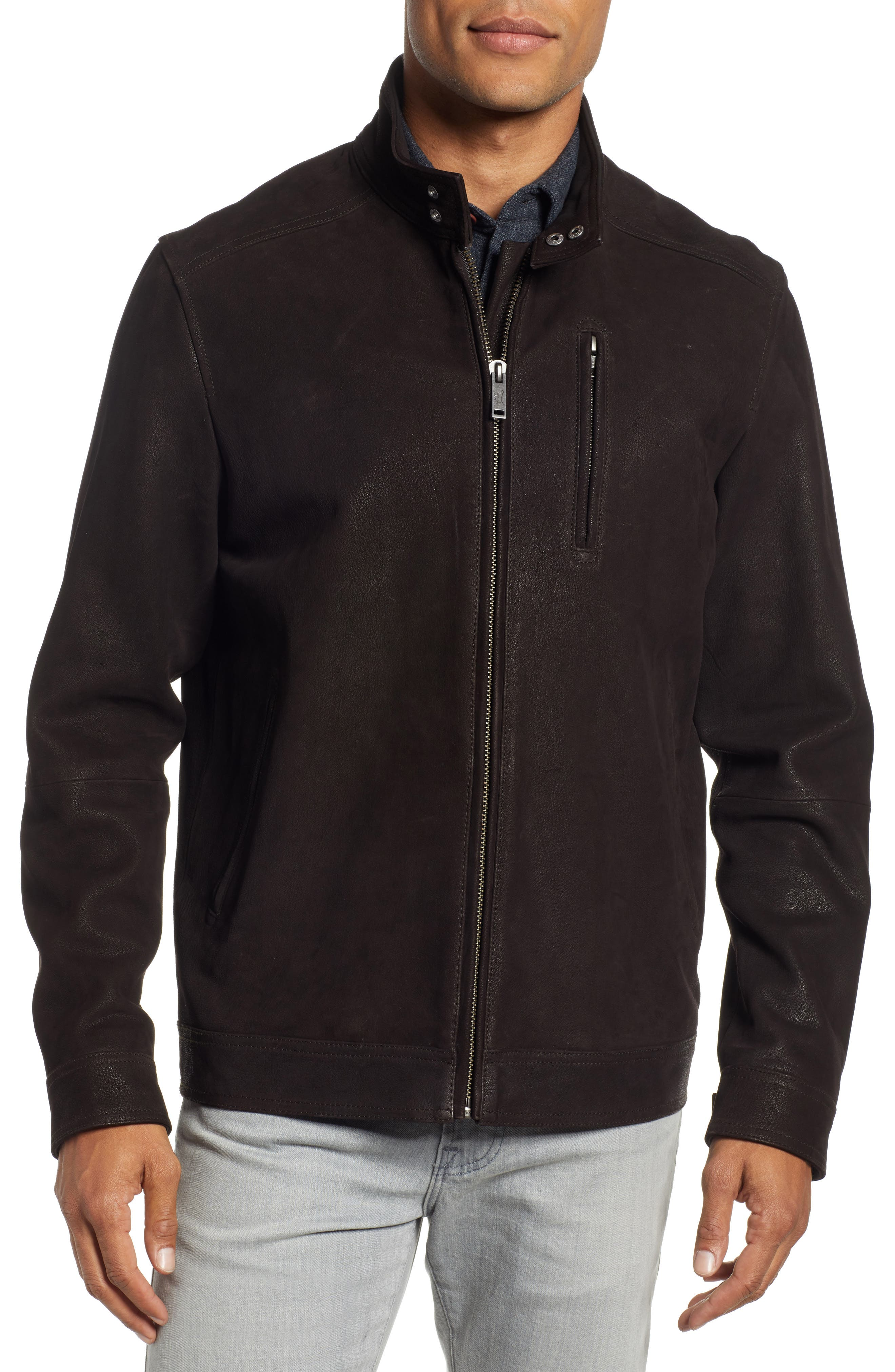 Westhaven Distressed Leather Bomber Jacket,                             Alternate thumbnail 4, color,                             CHOCOLATE