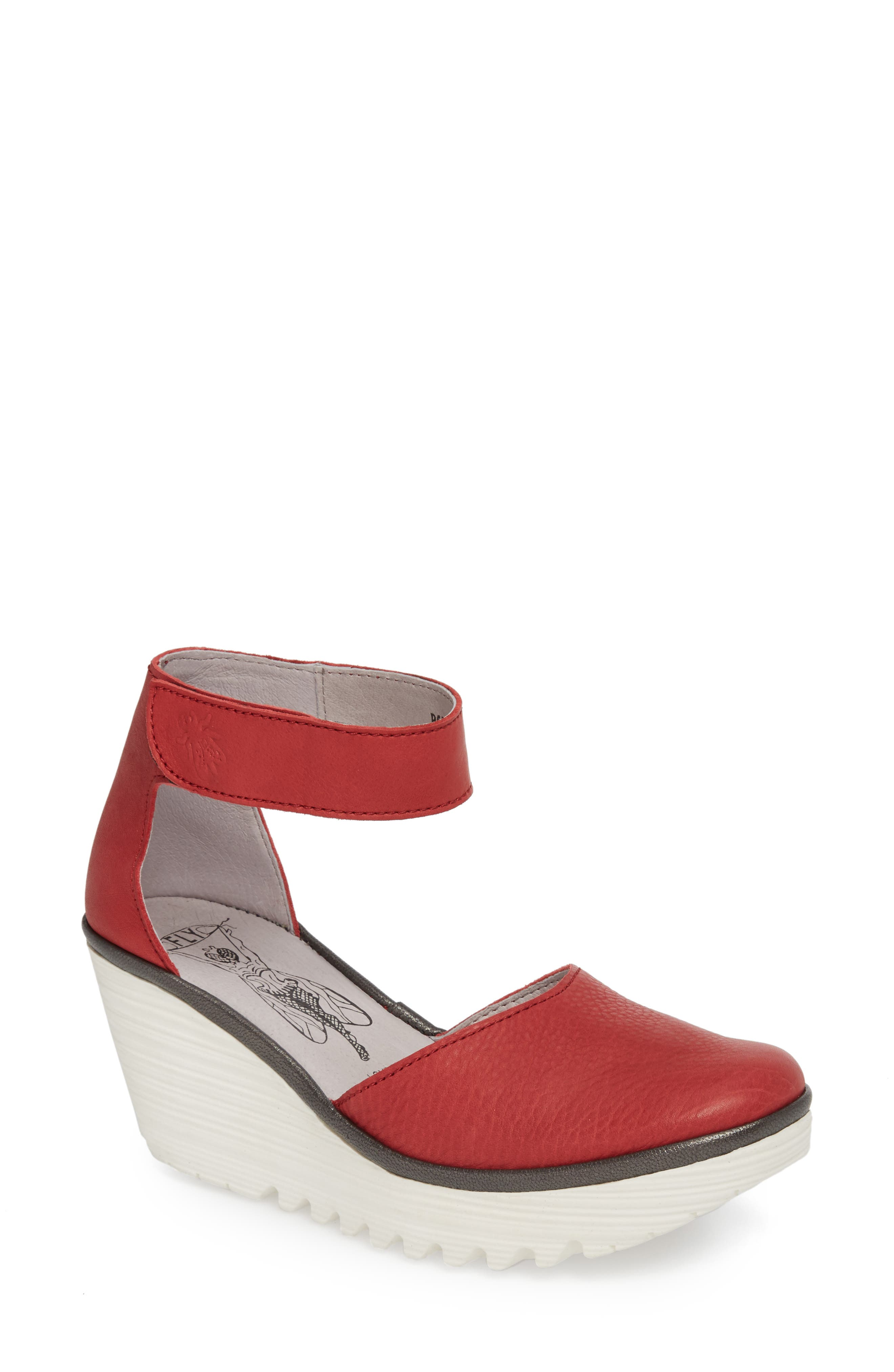 Yand Wedge Pump,                         Main,                         color, RED/ OFF WHITE BRITO LEATHER