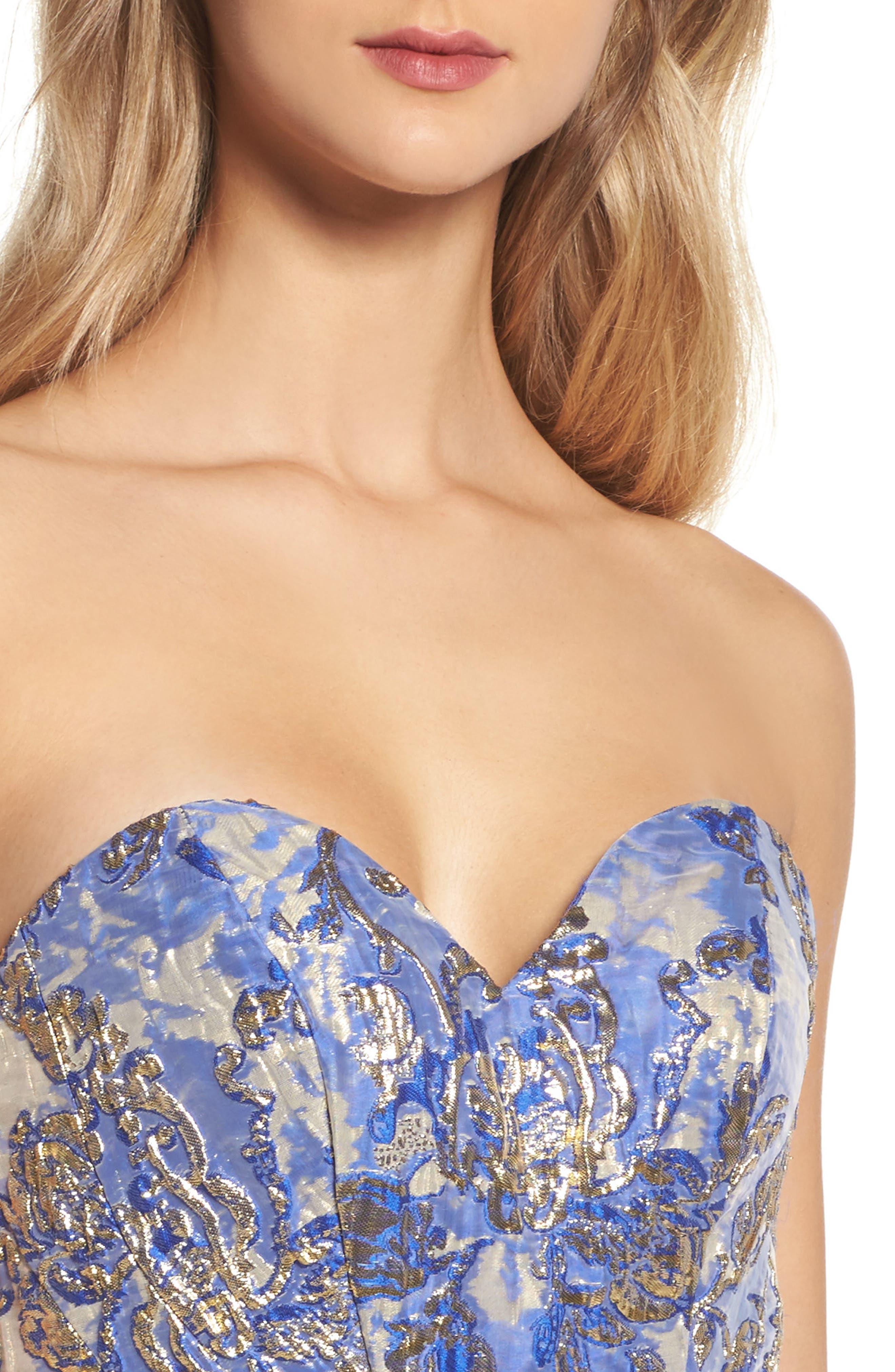 Metallic Jacquard Mermaid Gown,                             Alternate thumbnail 4, color,                             BLUE/GOLD