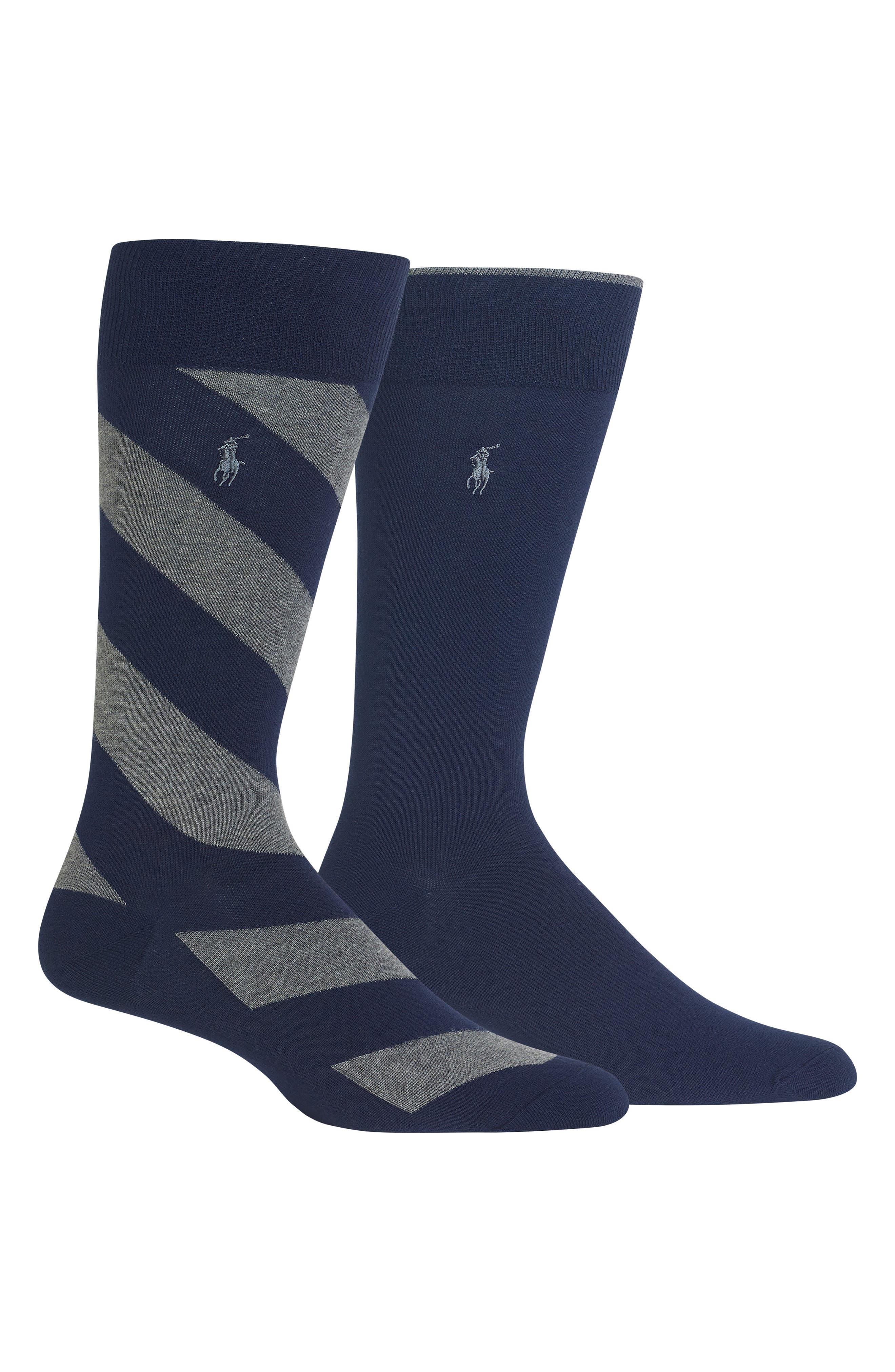 2-Pack Diagonal Stripe & Solid Socks,                         Main,                         color, NAVY