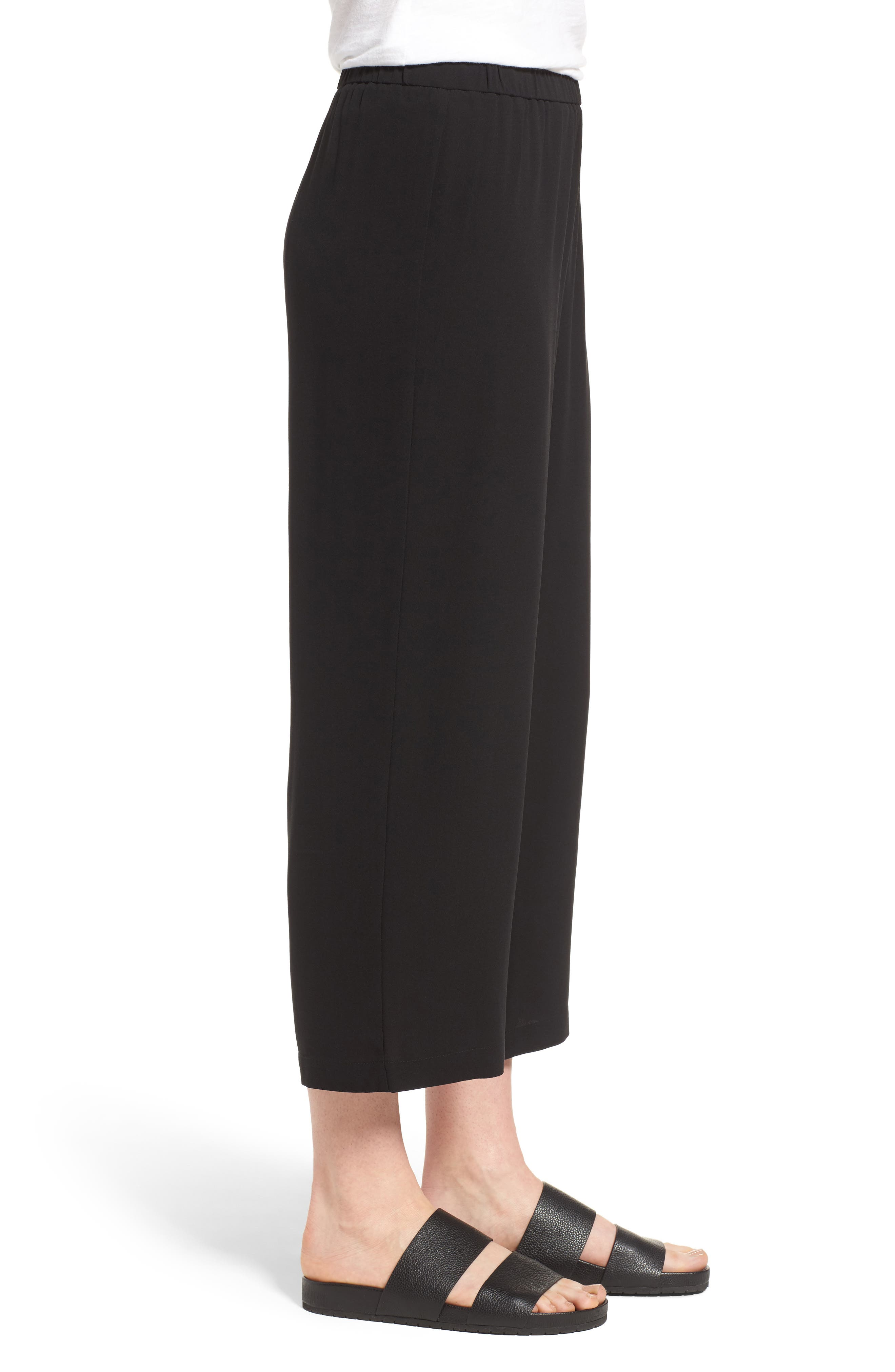 EILEEN FISHER,                             Silk Crop Pants,                             Alternate thumbnail 3, color,                             BLACK