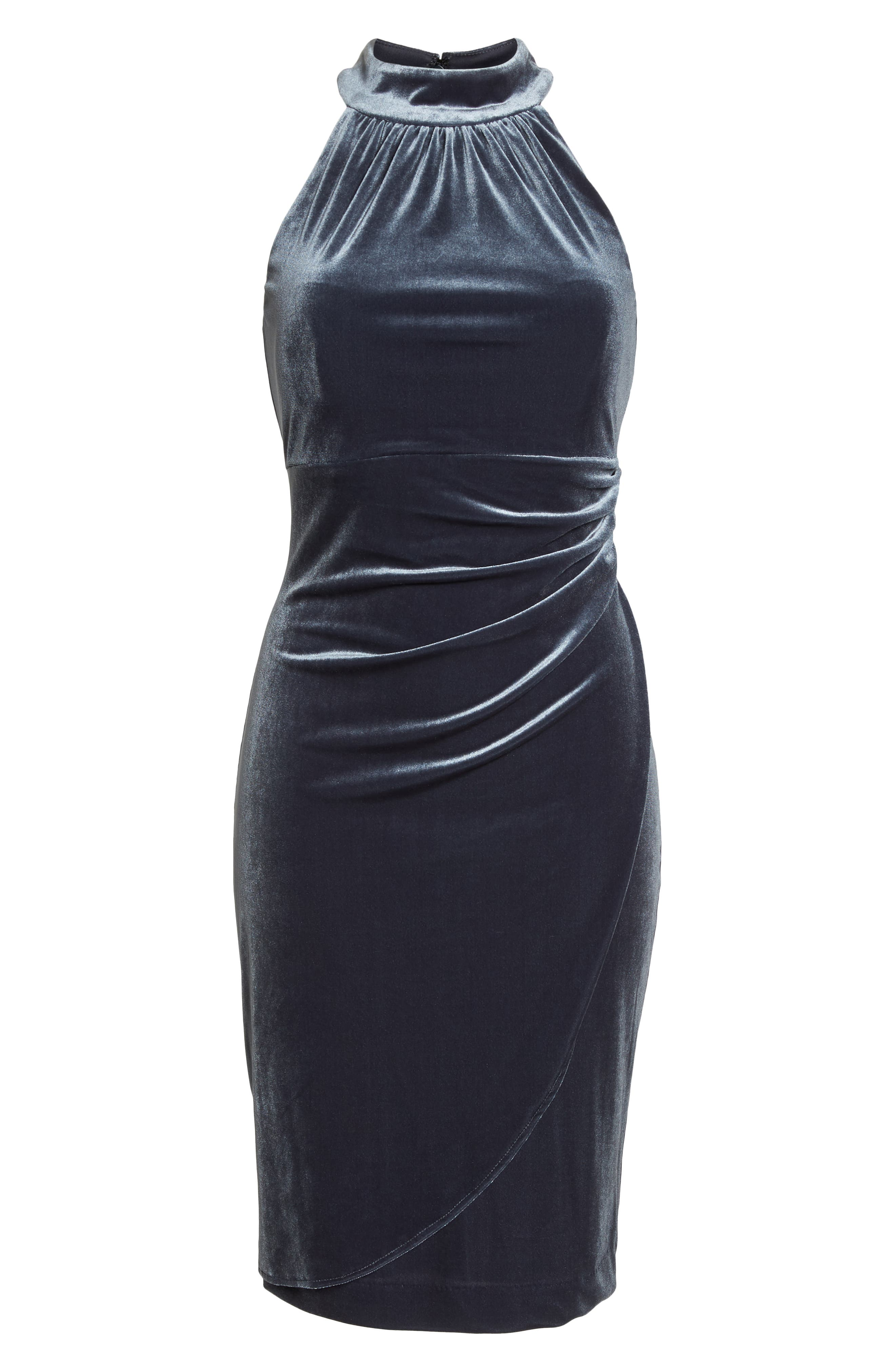 Draped Velvet Cocktail Dress,                             Alternate thumbnail 7, color,                             GREY