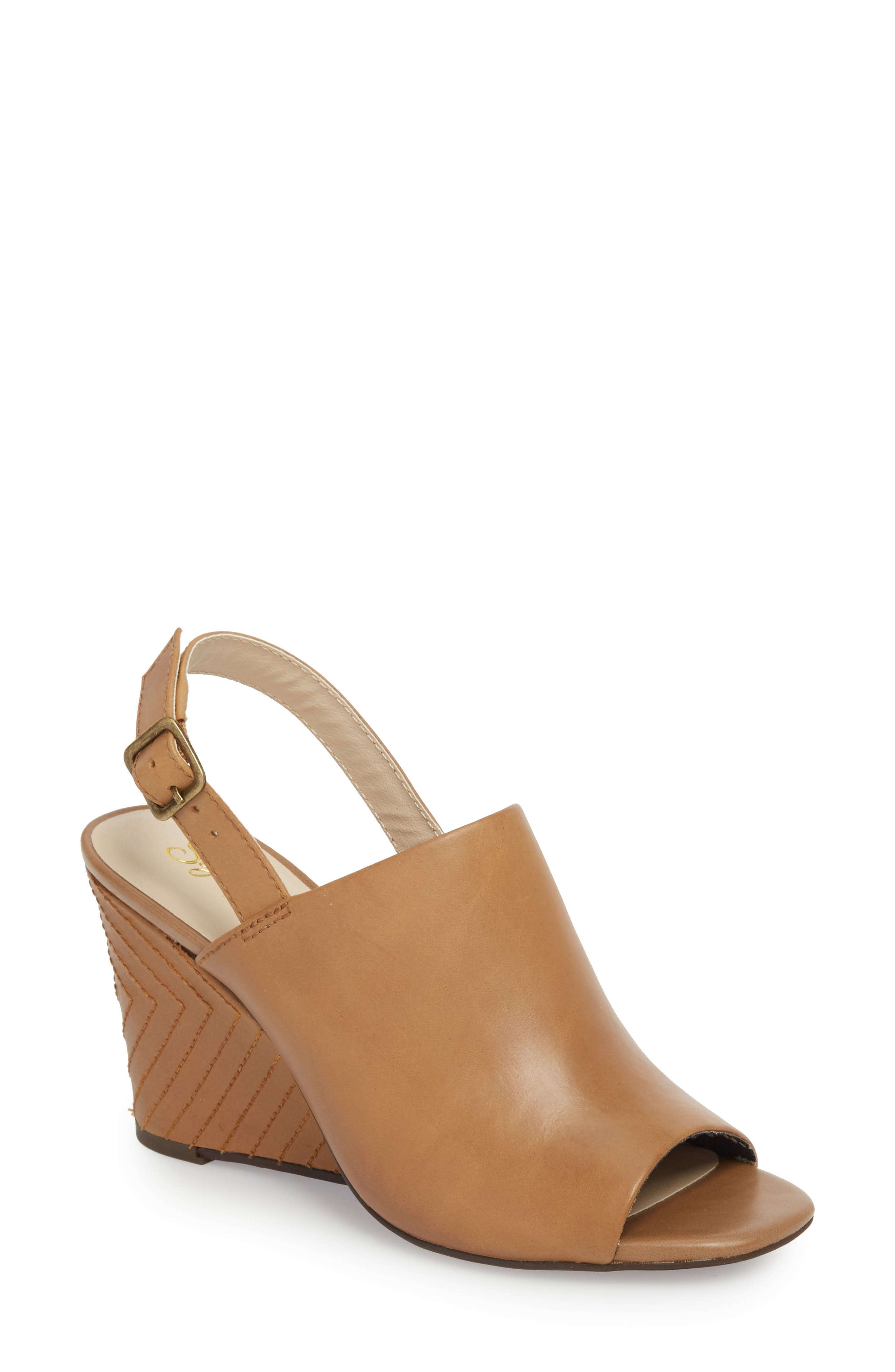Abyssal Wedge Sandal,                         Main,                         color, TAN LEATHER