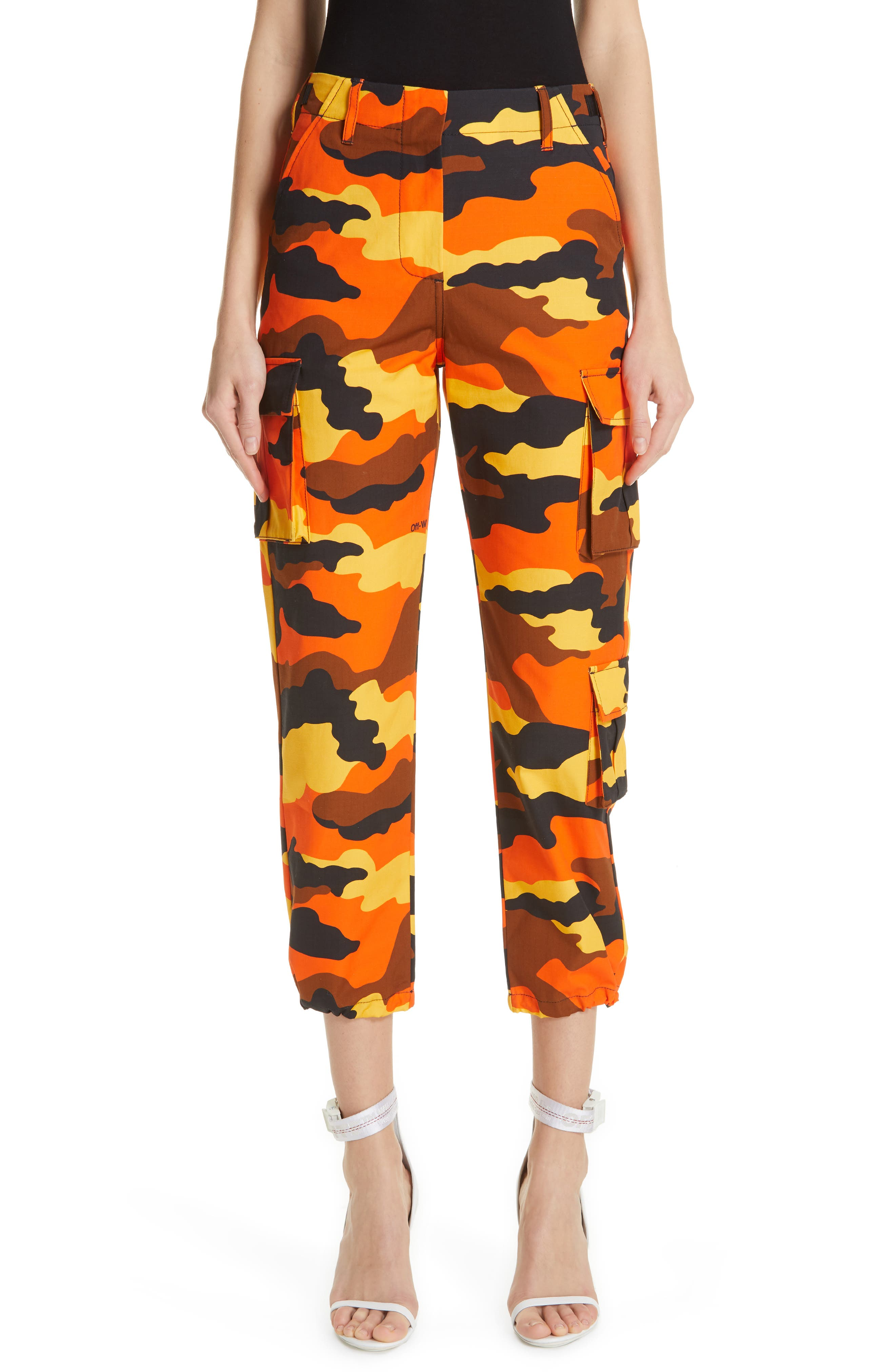 OFF-WHITE,                             Camo Cargo Pants,                             Main thumbnail 1, color,                             ALL OVER