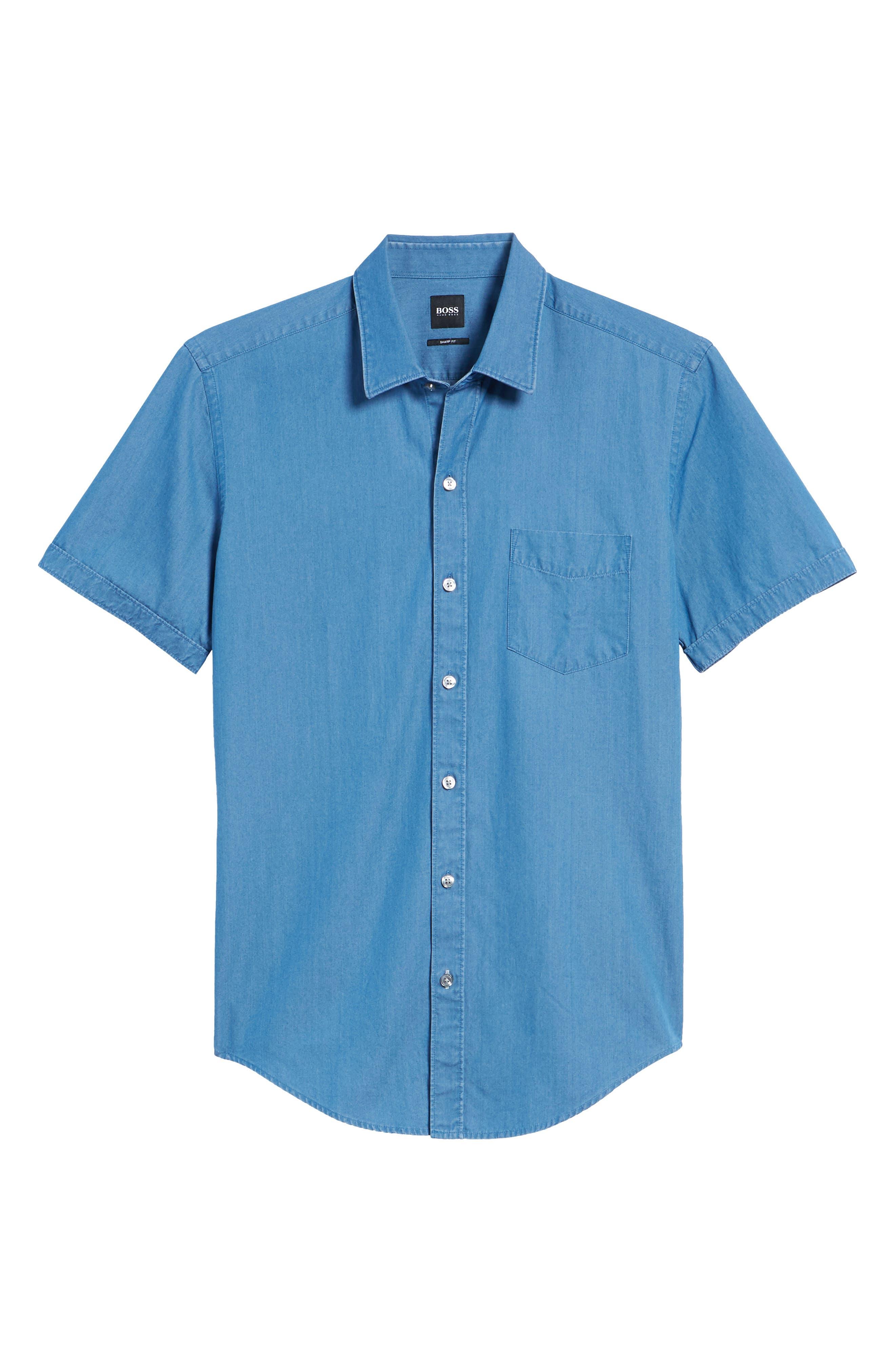 Robb Trim Fit Denim Short Sleeve Sport Shirt,                             Alternate thumbnail 6, color,                             BLUE