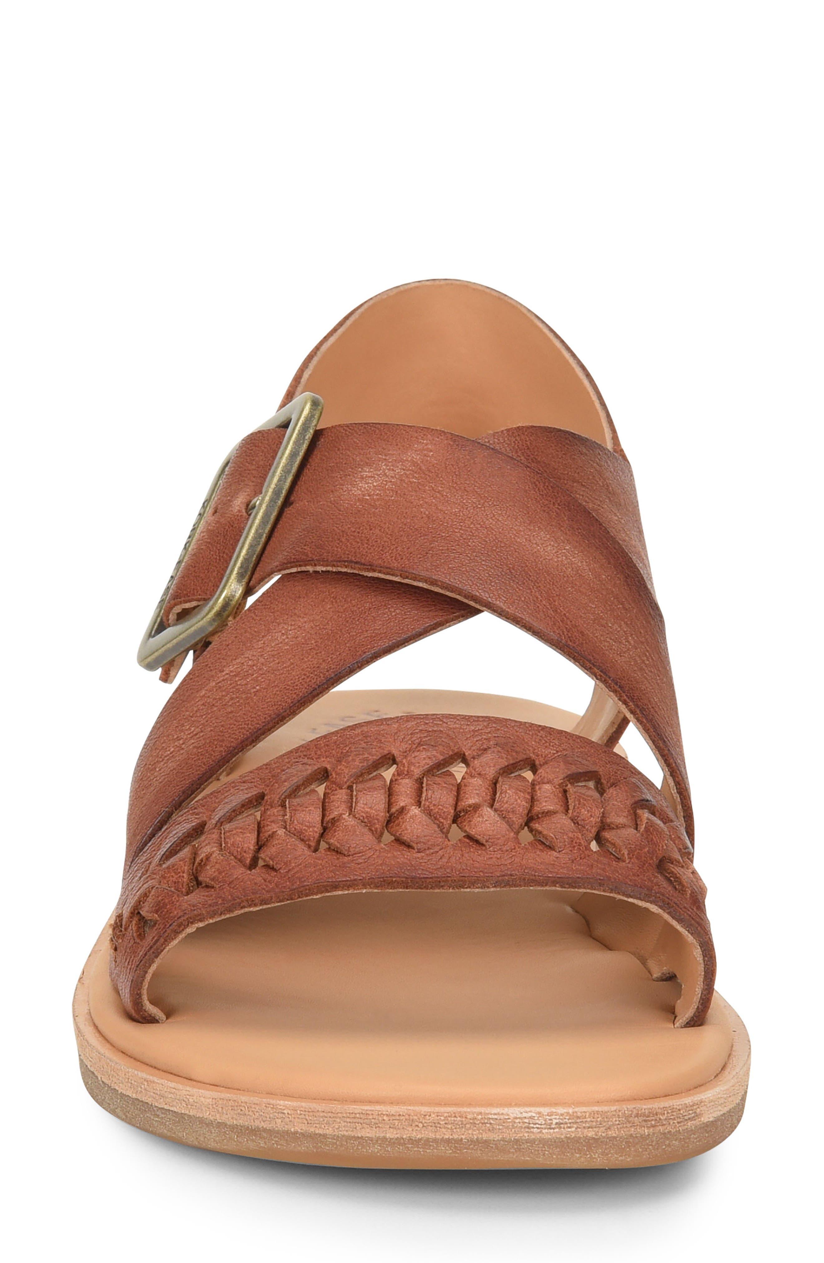 Nara Braid Sandal,                             Alternate thumbnail 4, color,                             BROWN LEATHER