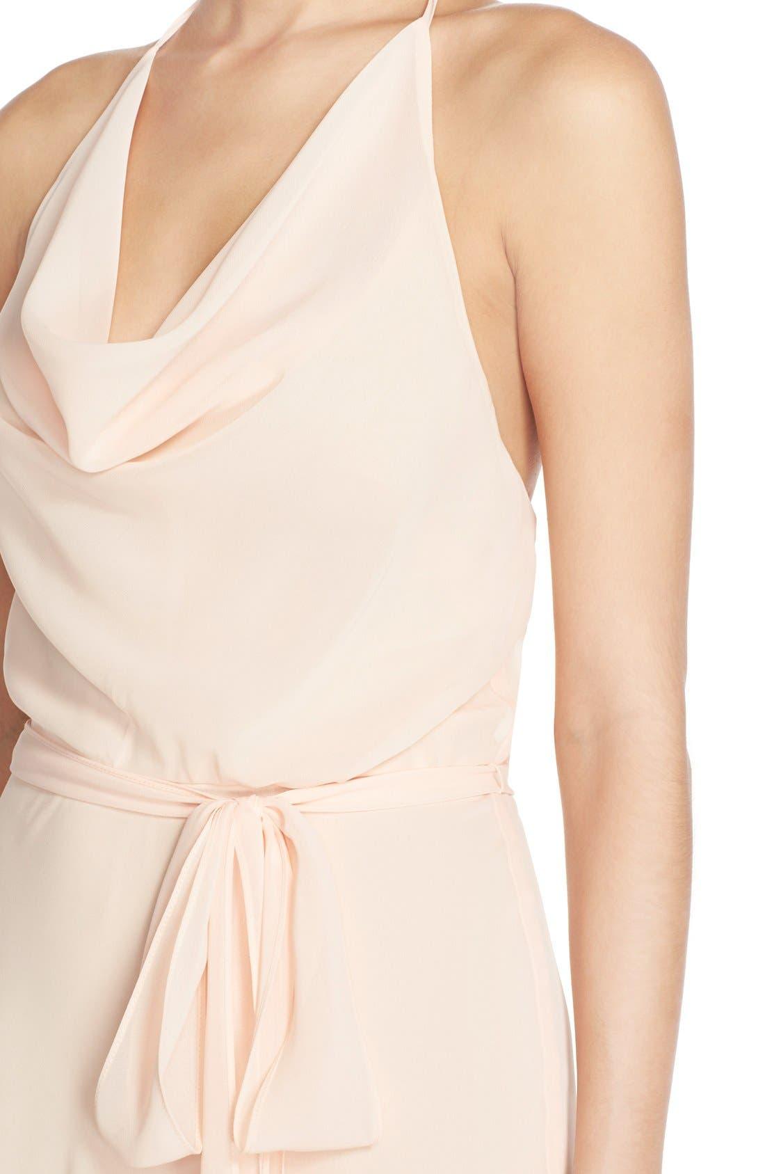 'Alyssa' Cowl Neck Chiffon Halter Gown,                             Alternate thumbnail 4, color,                             271