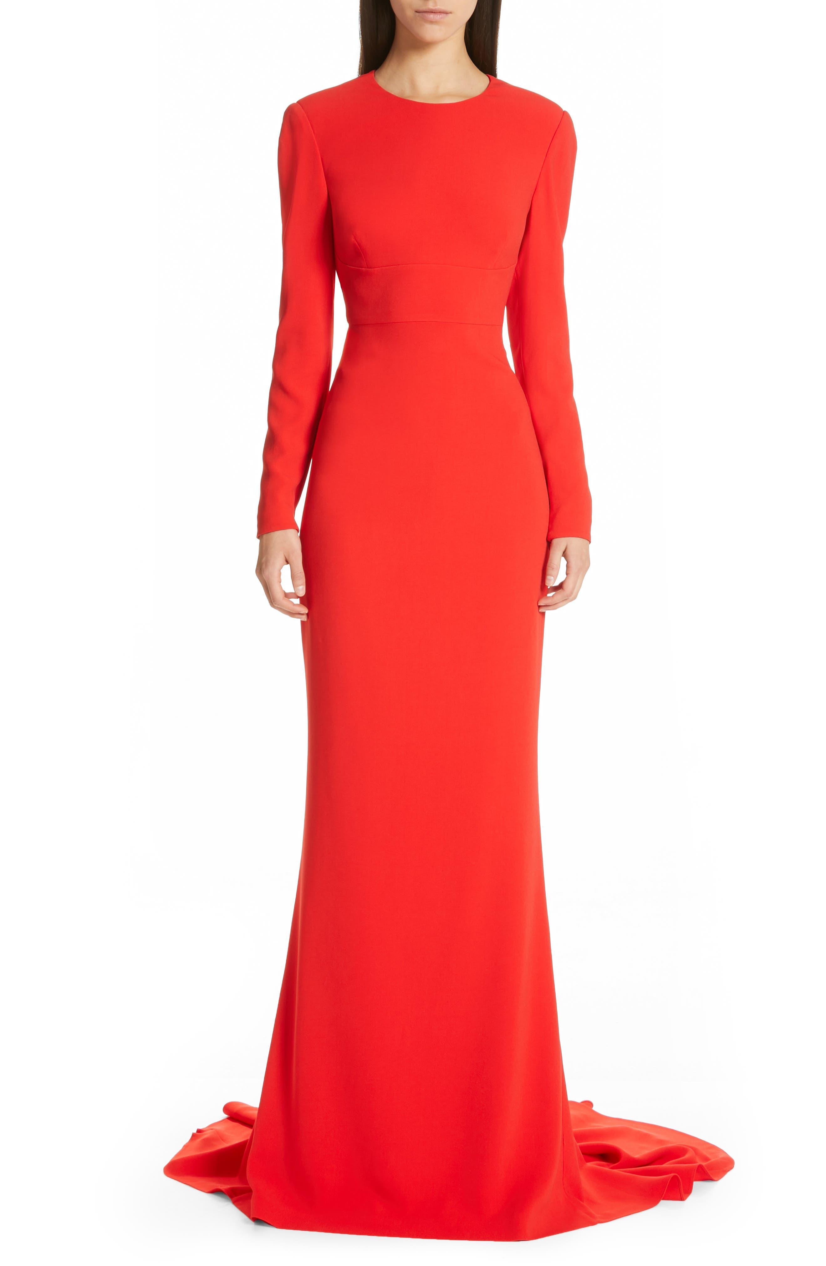 Ruby Cutout Sheath Gown,                         Main,                         color, SCARLET