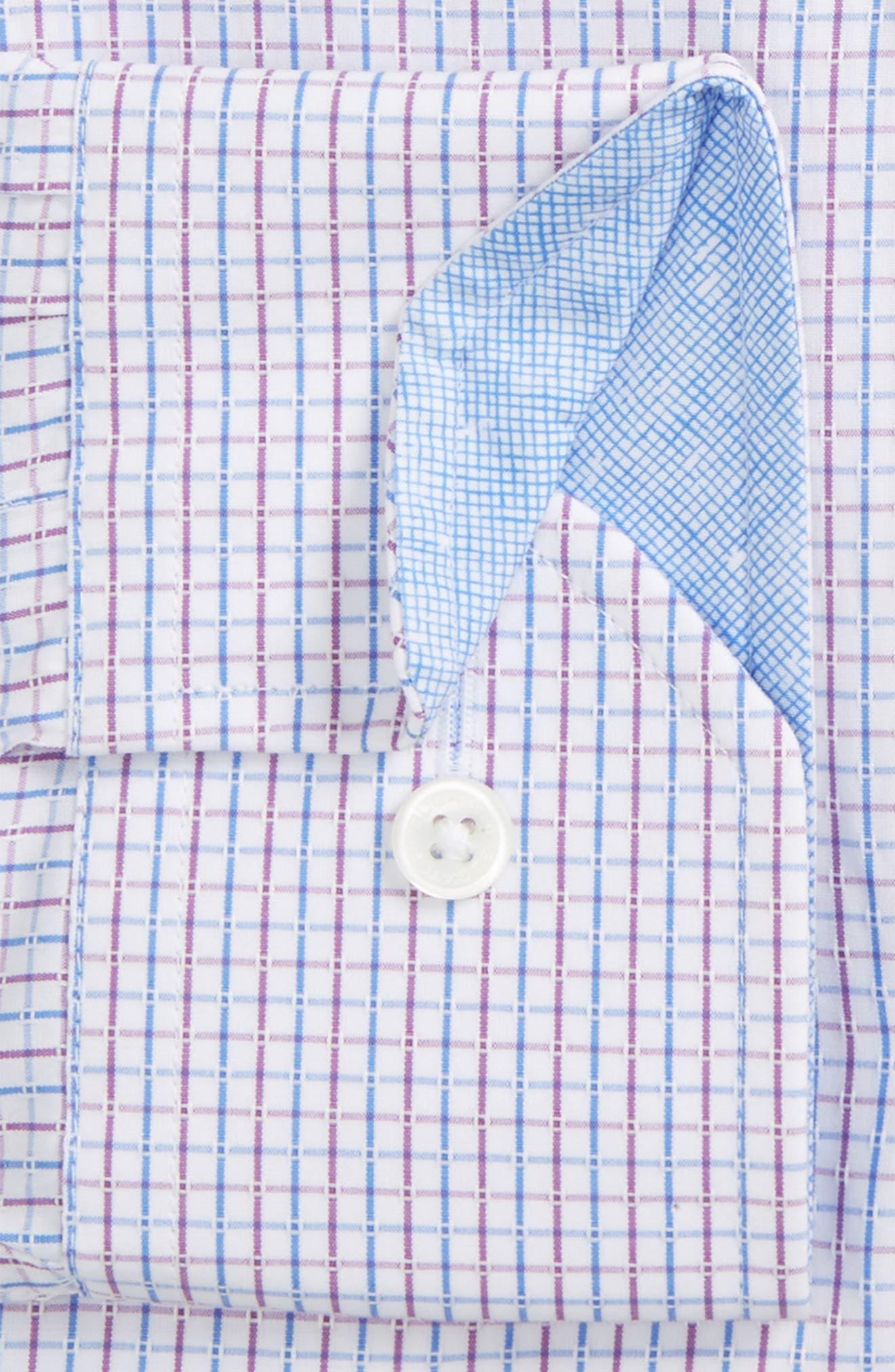 Trim Fit Check Dress Shirt,                             Alternate thumbnail 2, color,                             100