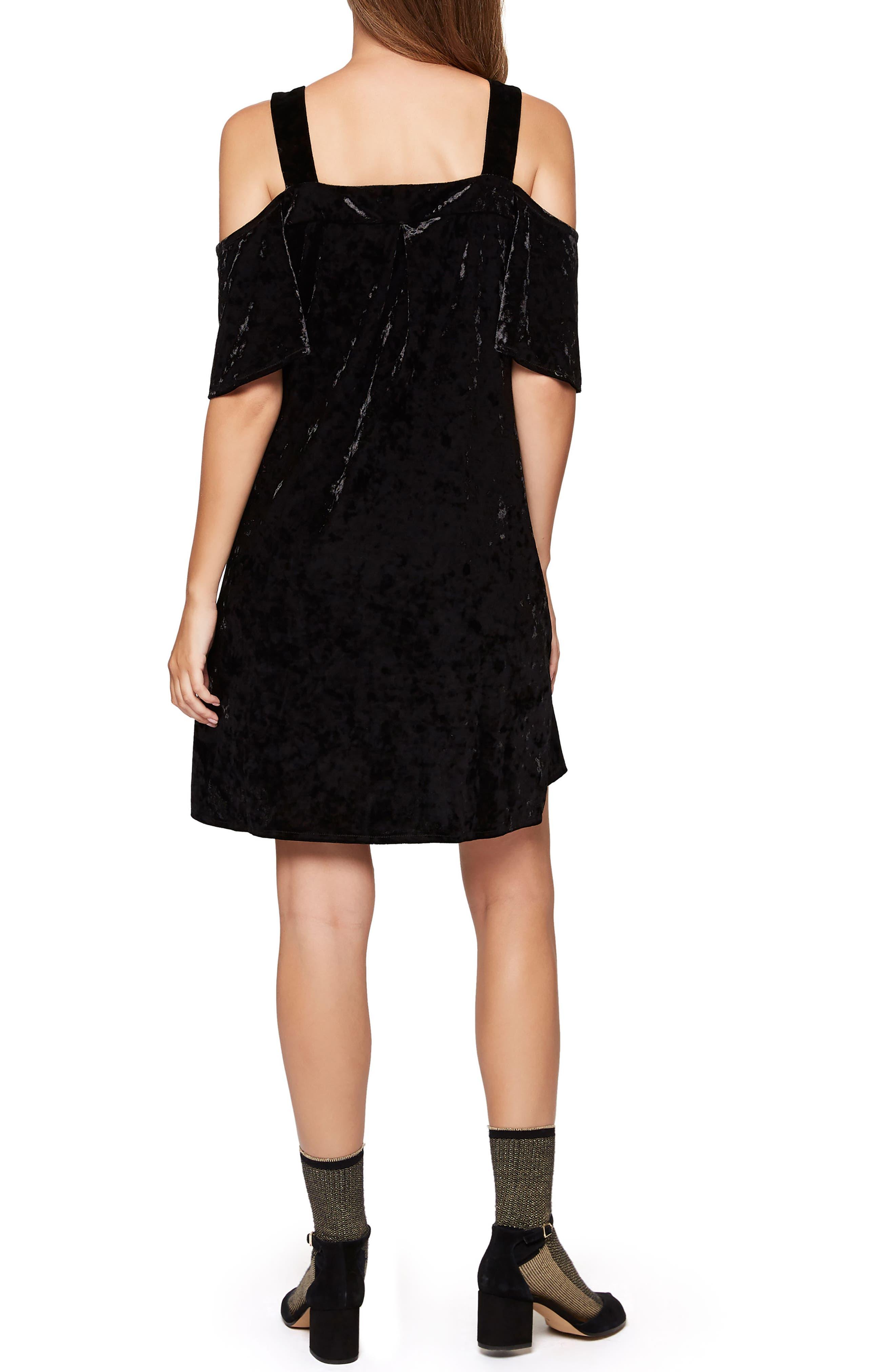 Drea Off the Shoulder Crushed Velvet Dress,                             Alternate thumbnail 2, color,                             001