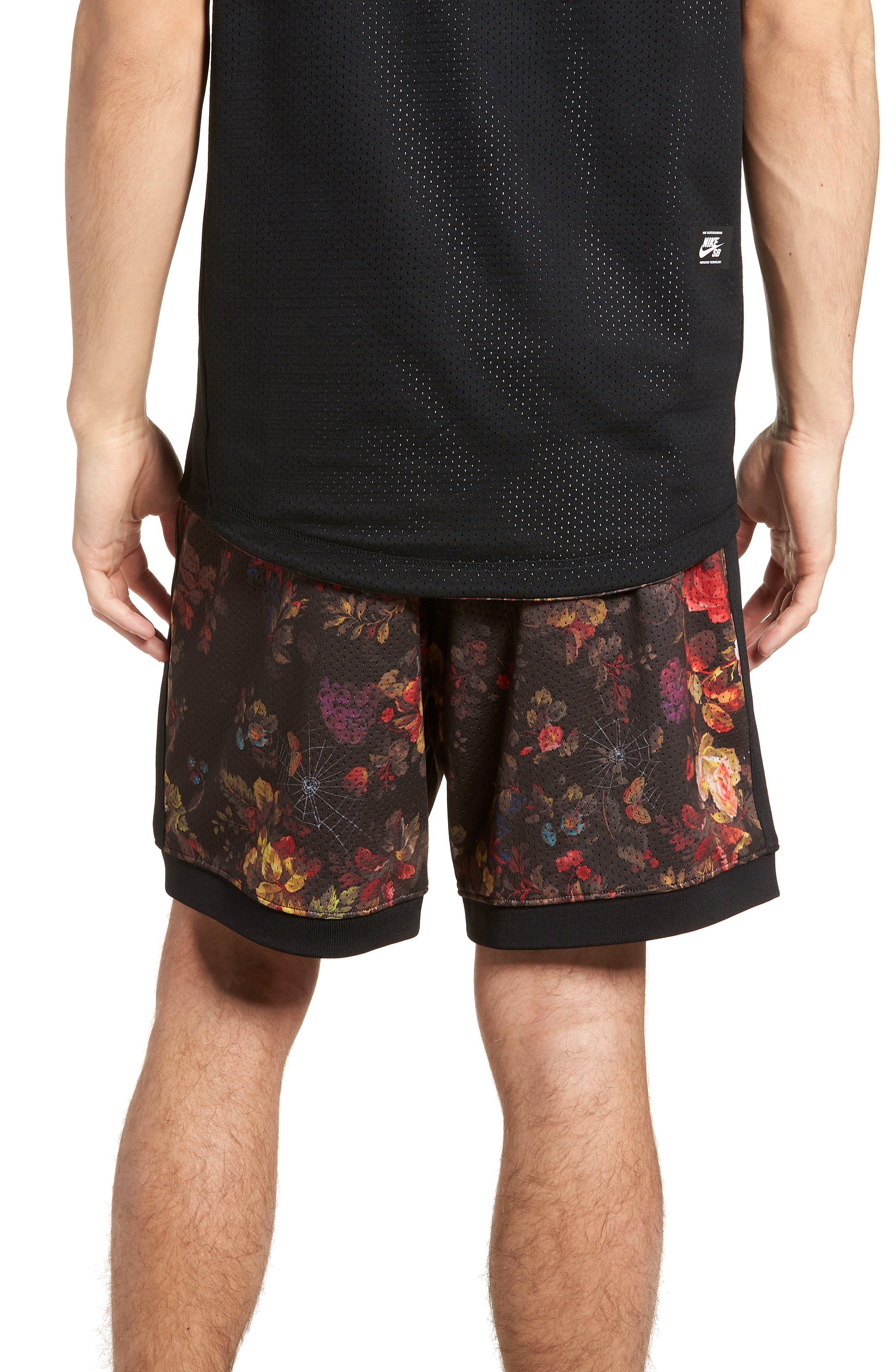 Dry Floral Shorts,                             Alternate thumbnail 2, color,                             BLACK/ WHITE