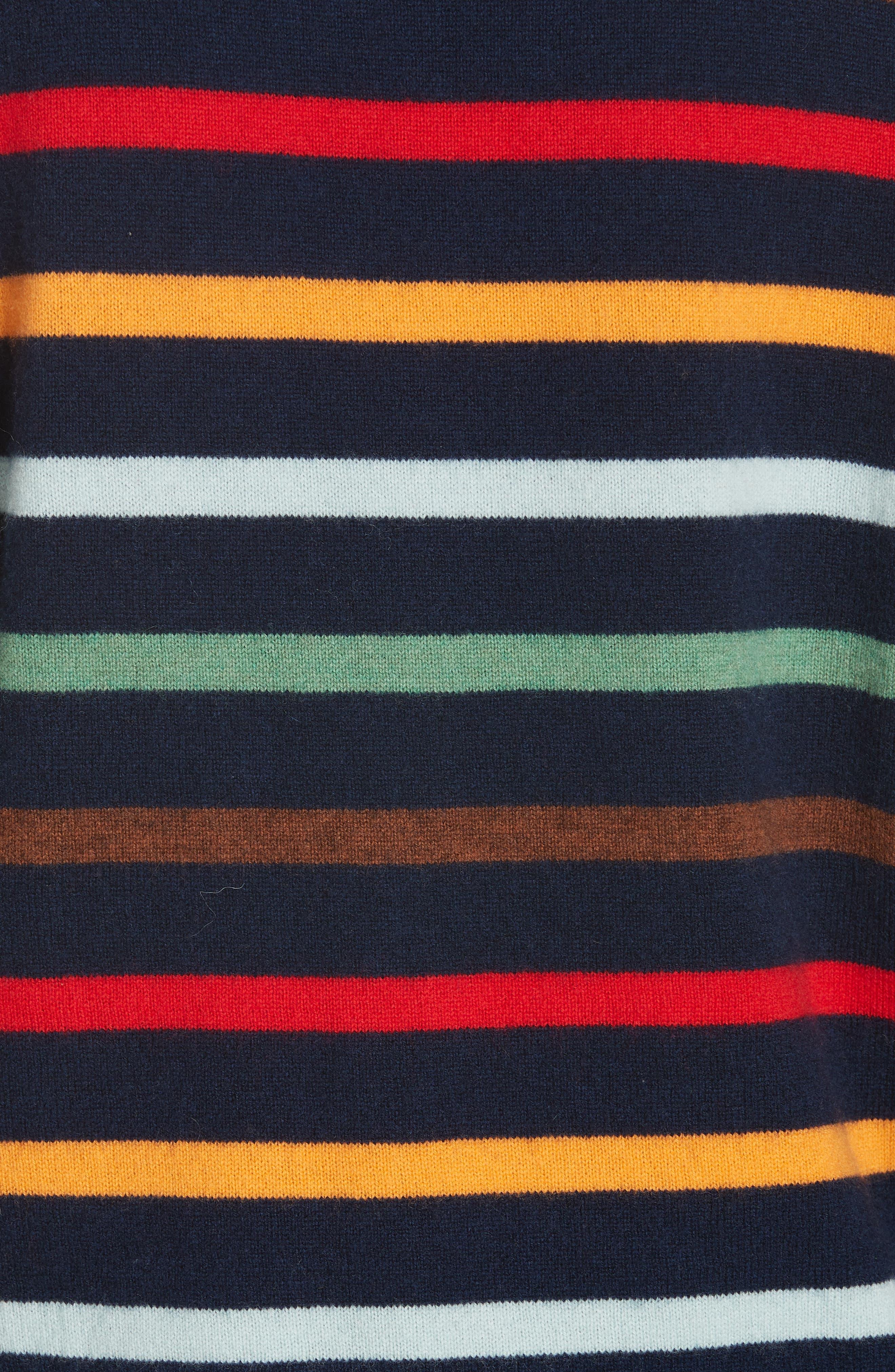 Rainbow Neat Wool & Cashmere Sweater,                             Alternate thumbnail 5, color,                             NAVY/ RAINBOW