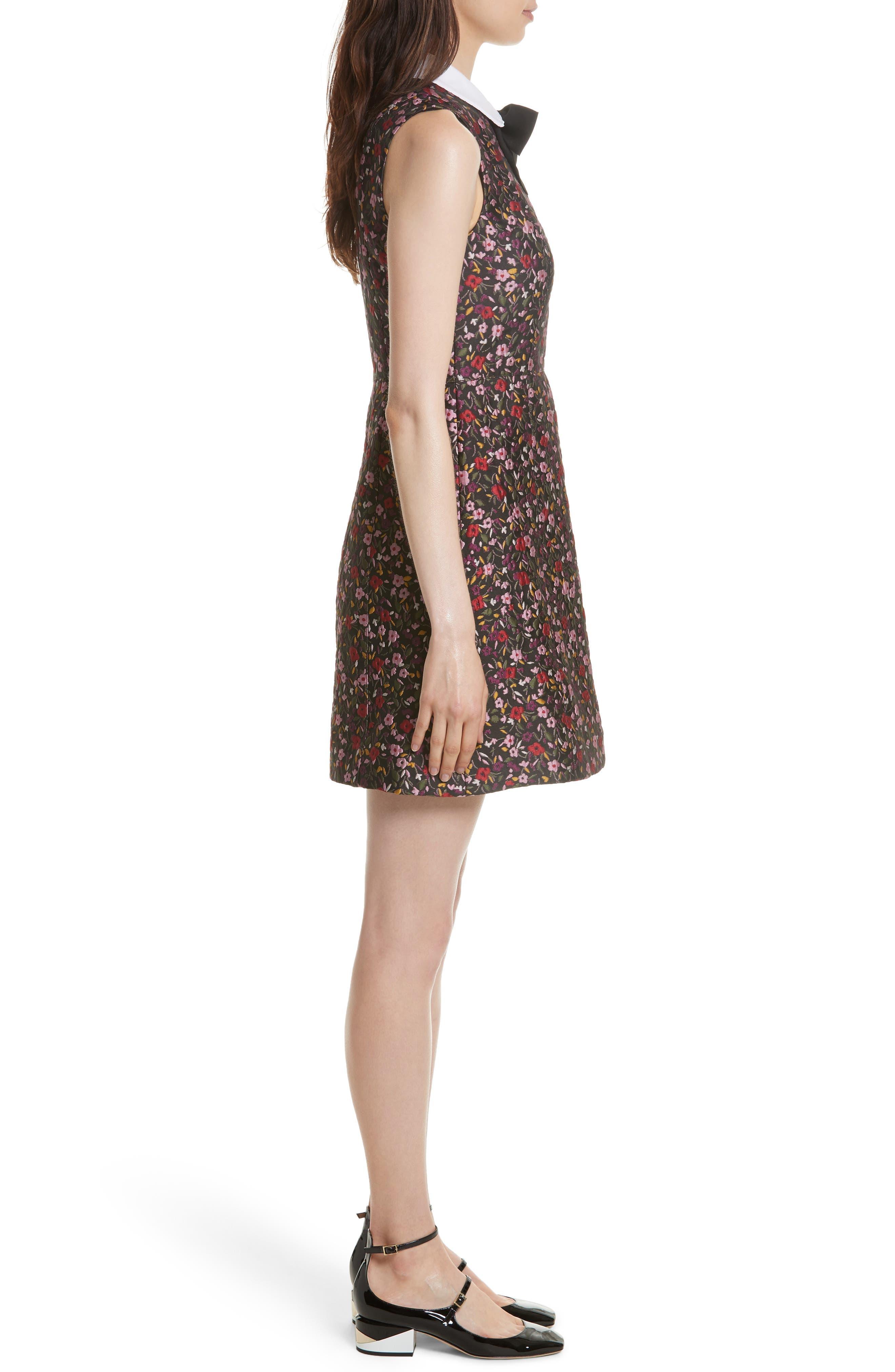 detachable collar floral jacquard dress,                             Alternate thumbnail 3, color,                             006