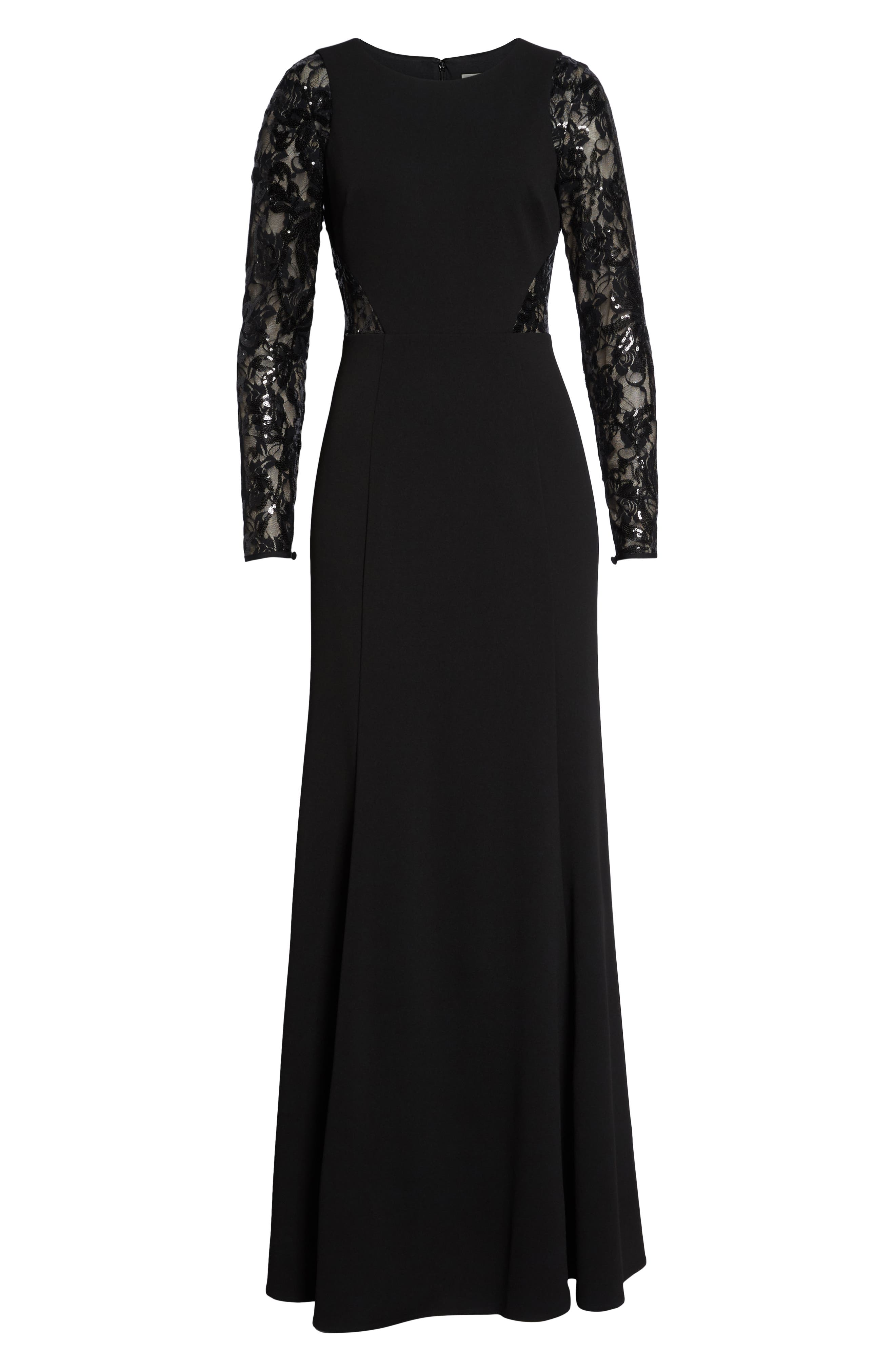Embellished Lace Gown,                             Alternate thumbnail 7, color,                             BLACK