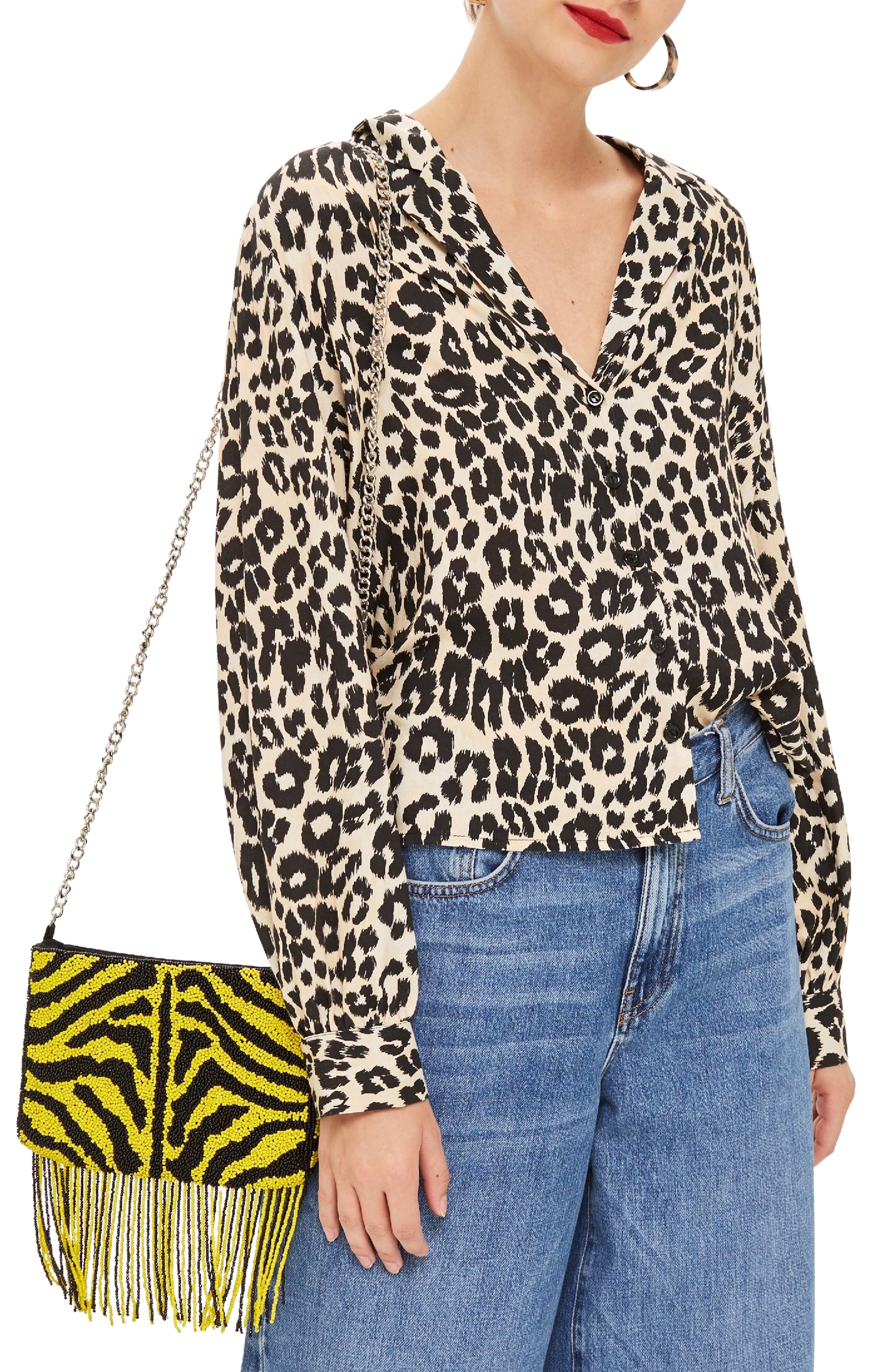 TOPSHOP | Women's Topshop Jessica Animal Print Blouse, | Goxip