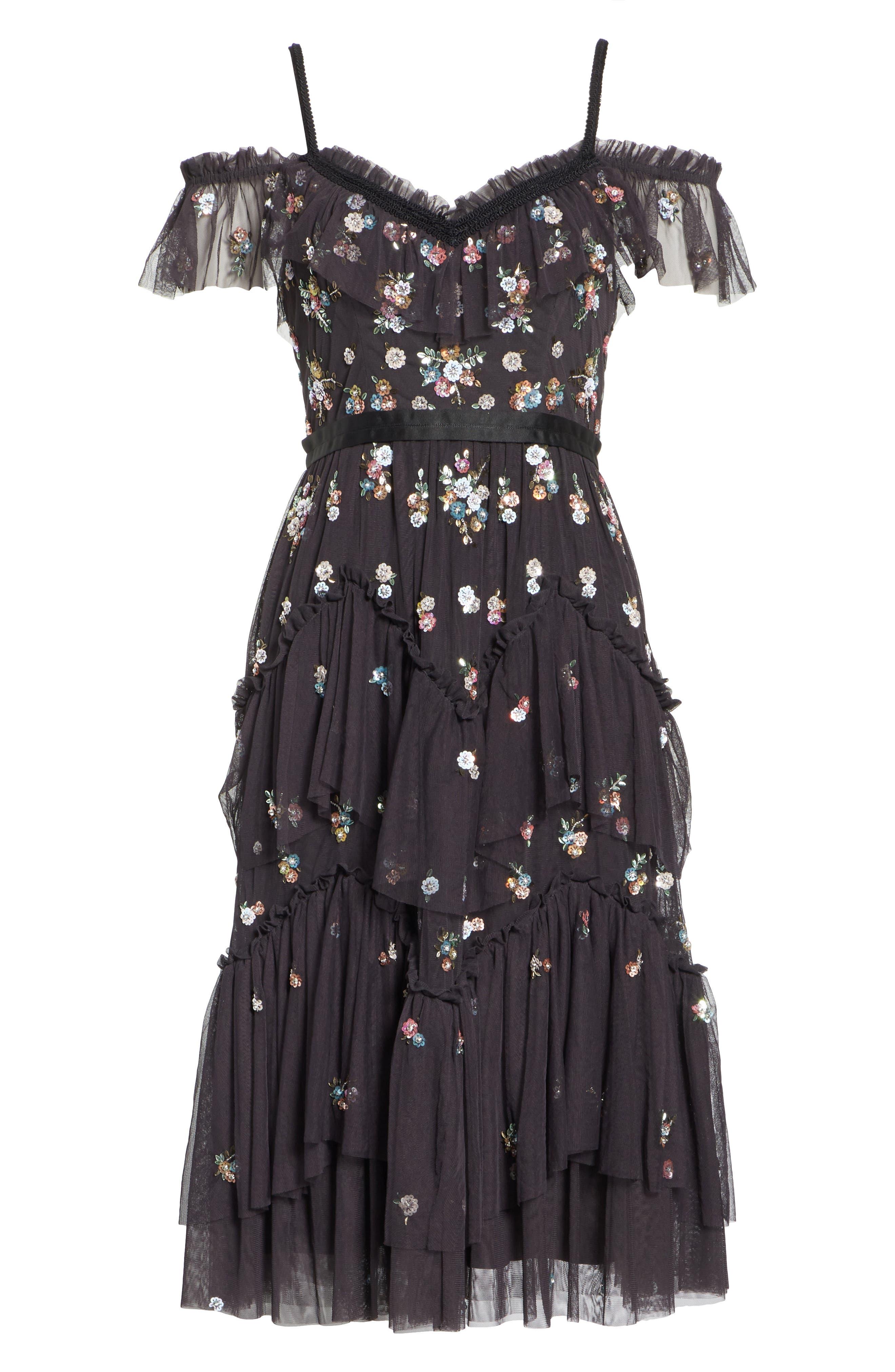 Lustre Cold Shoulder Dress,                             Alternate thumbnail 6, color,                             GRAPHITE