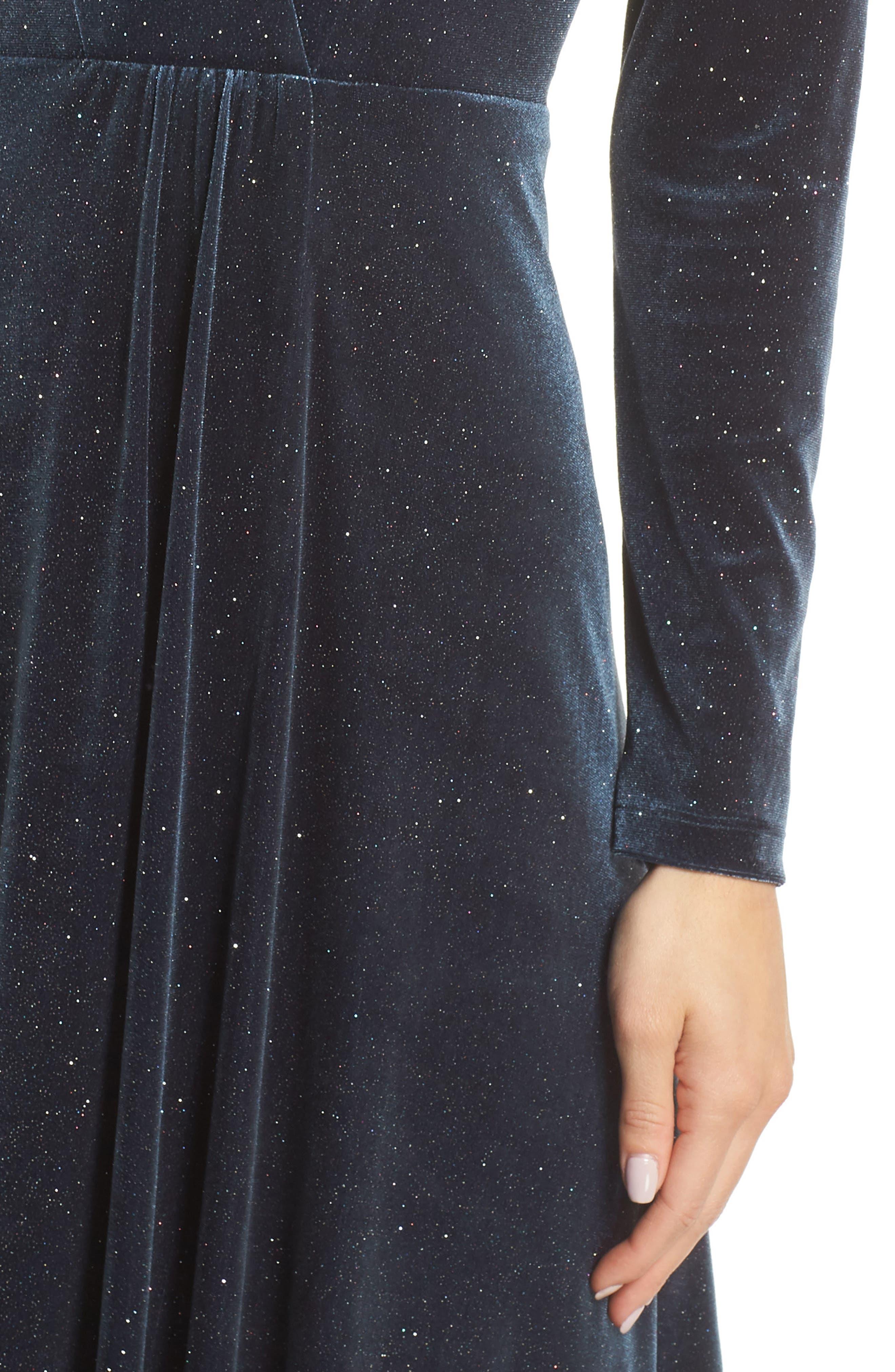 Sparkle Velvet Maxi Dress,                             Alternate thumbnail 4, color,                             MIDNIGHT
