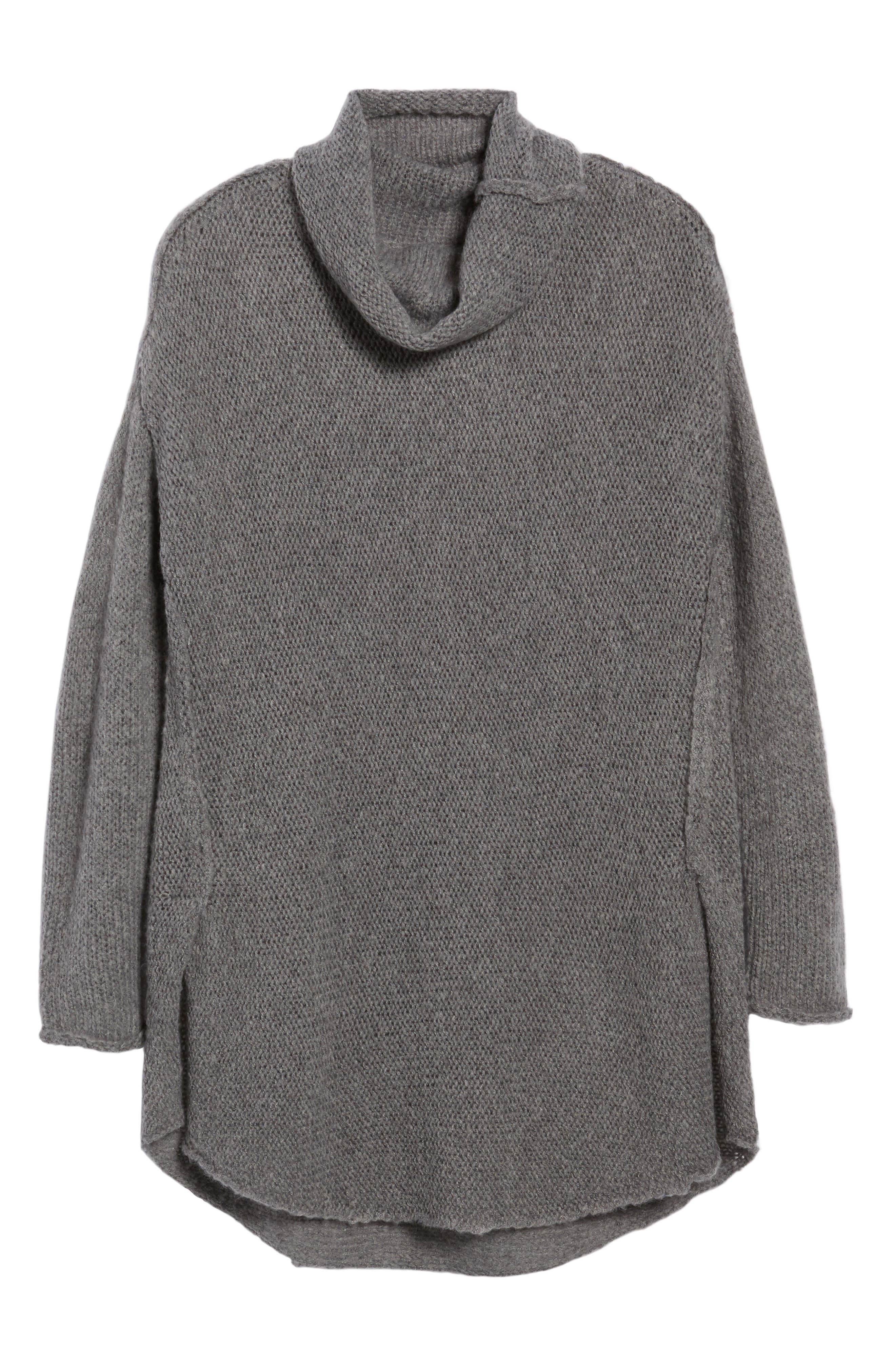 Tunic Sweater,                             Alternate thumbnail 6, color,                             GREY DARK HEATHER