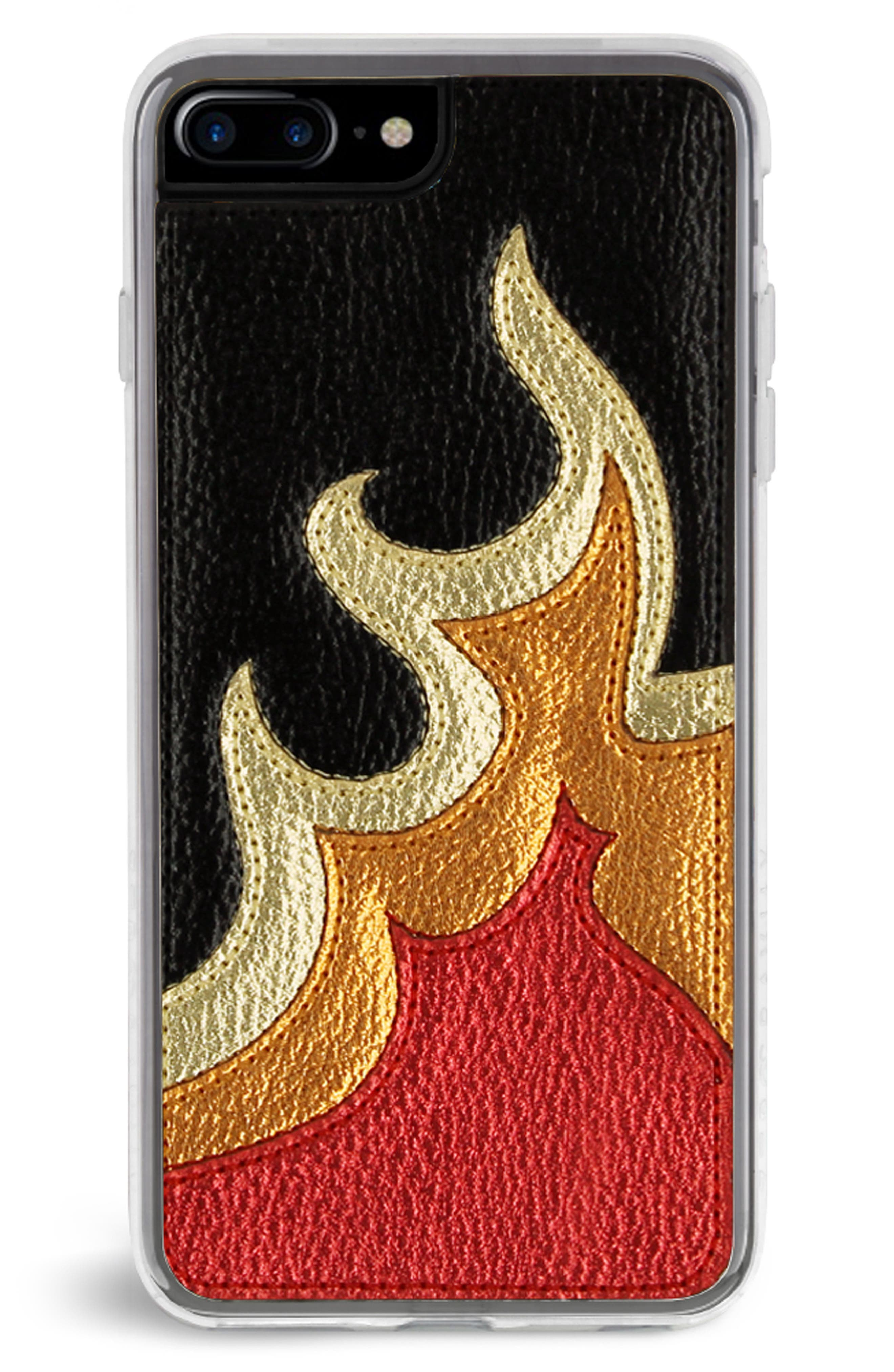 Burn Faux Leather iPhone 7/8 & 7/8 Plus Case,                             Main thumbnail 2, color,