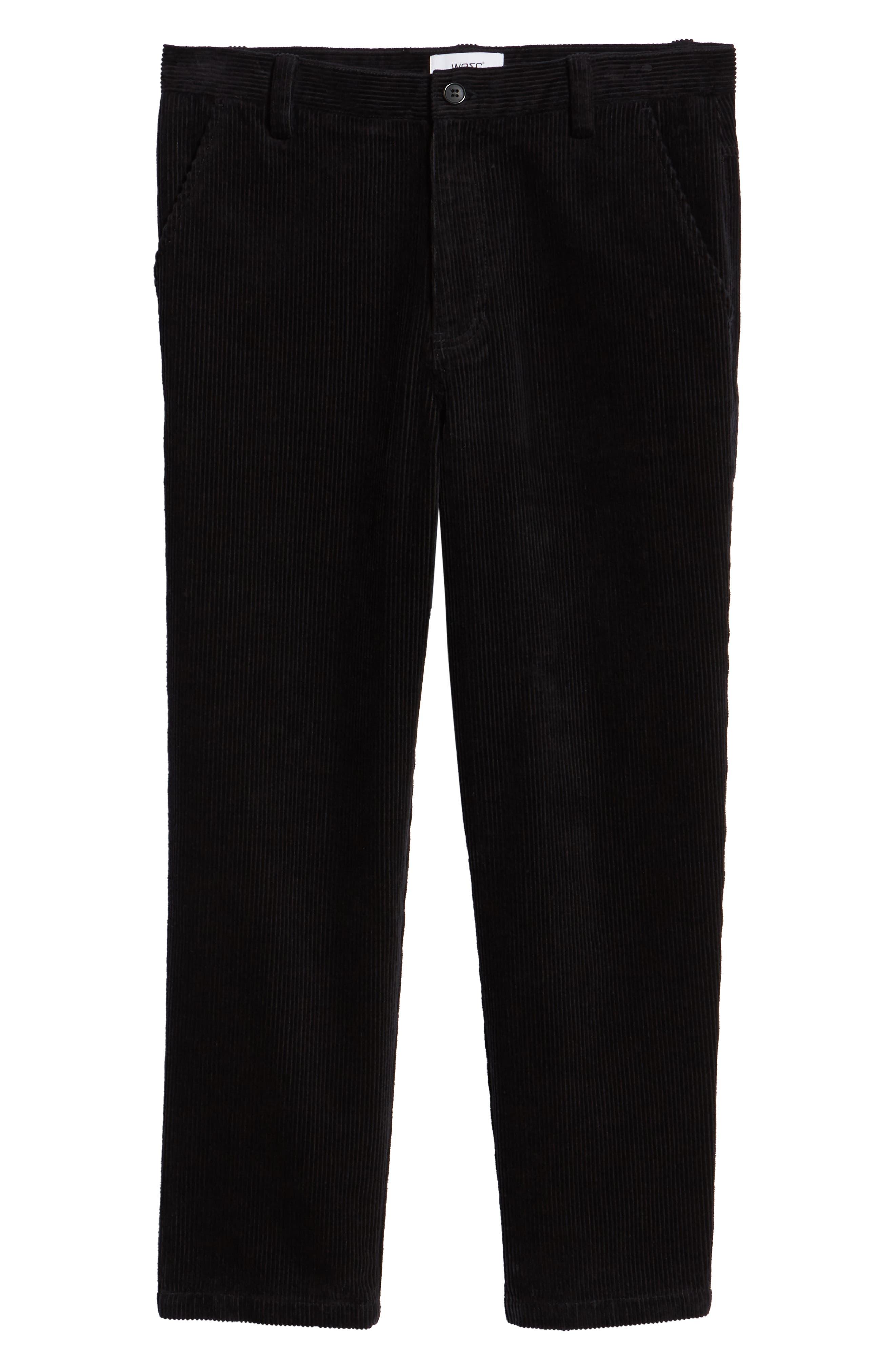 Iggy Wide Wale Cotton Corduroy Straight Leg Pants,                             Alternate thumbnail 6, color,                             BLACK