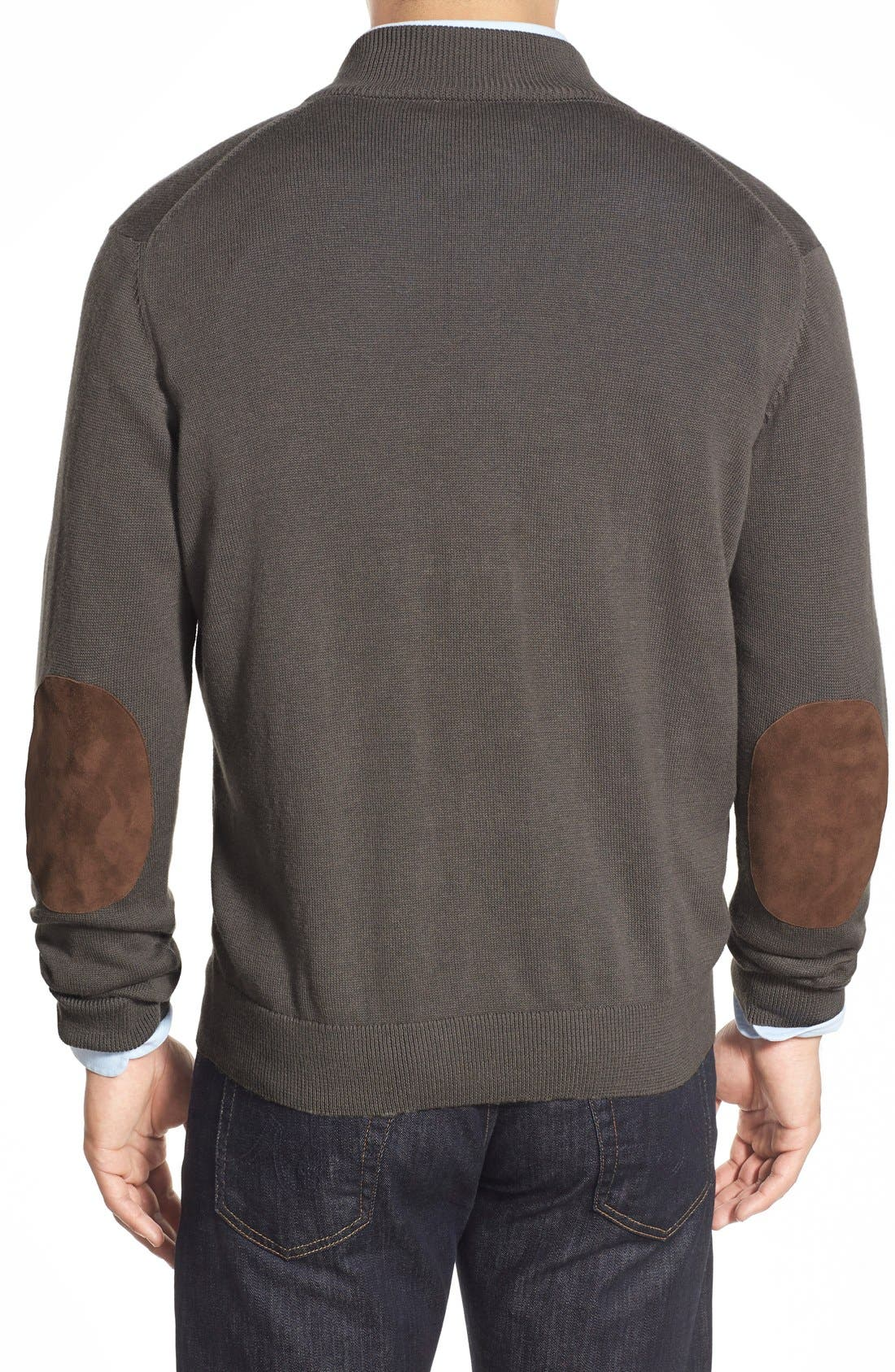 'Round Hill' Quarter Zip Sweater with Suede Elbow Patches,                             Alternate thumbnail 3, color,                             025