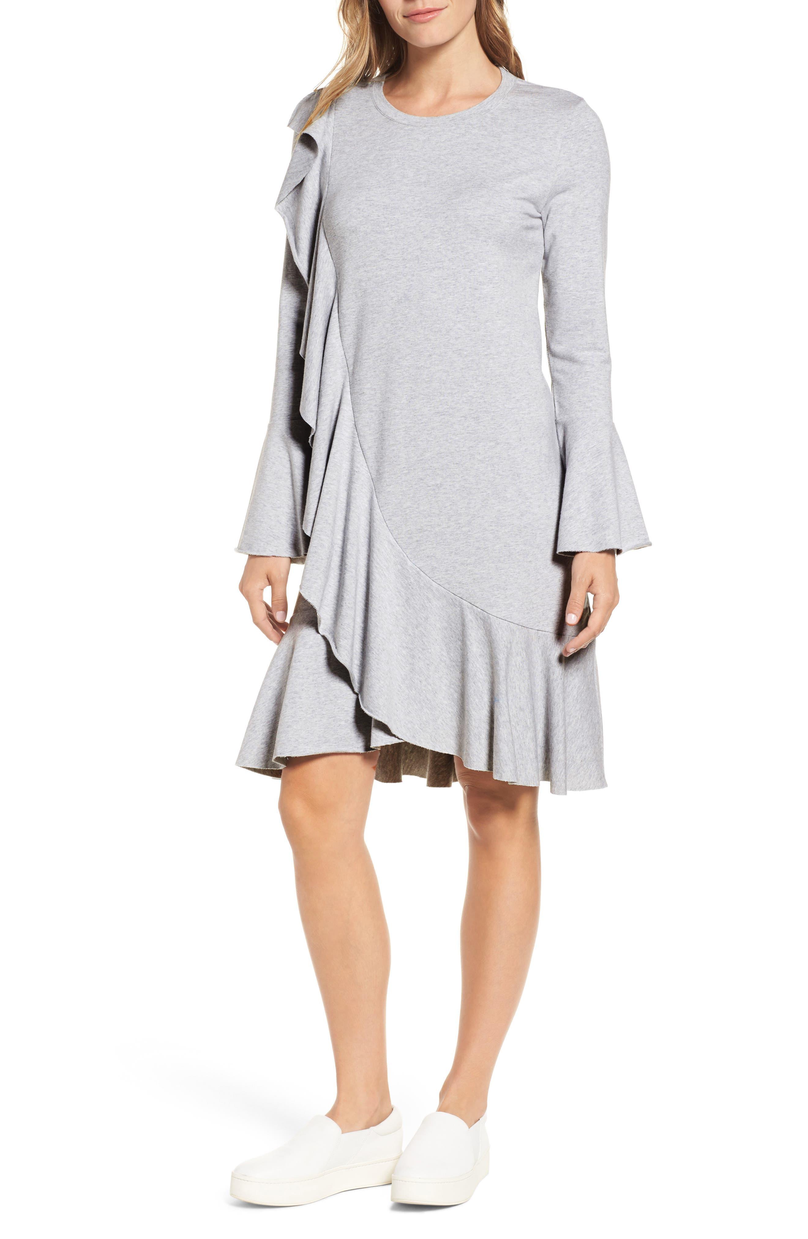 Ruffle Detail Knit Dress,                             Main thumbnail 2, color,