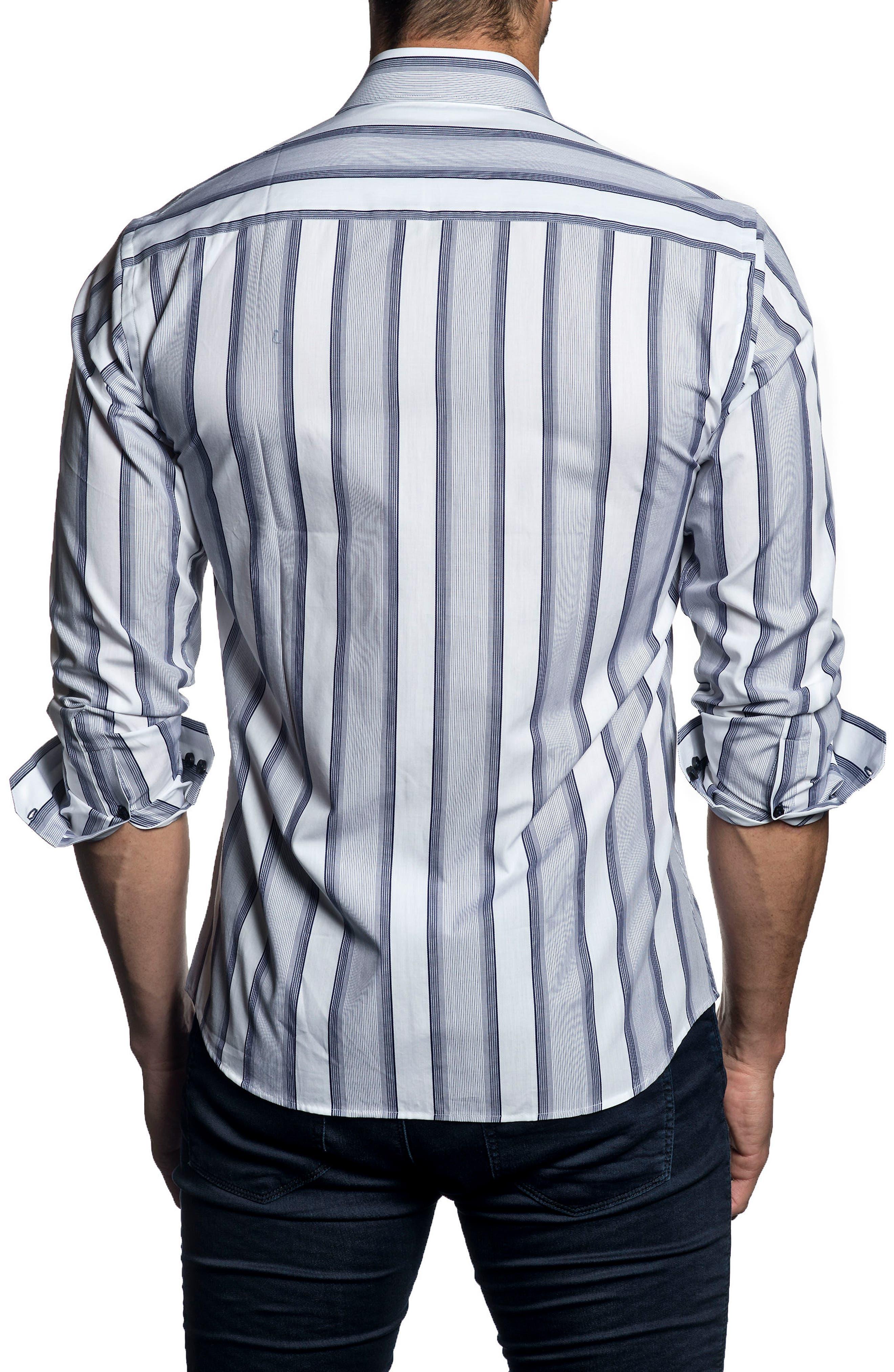 Trim Fit Vertical Stripe Sport Shirt,                             Alternate thumbnail 2, color,