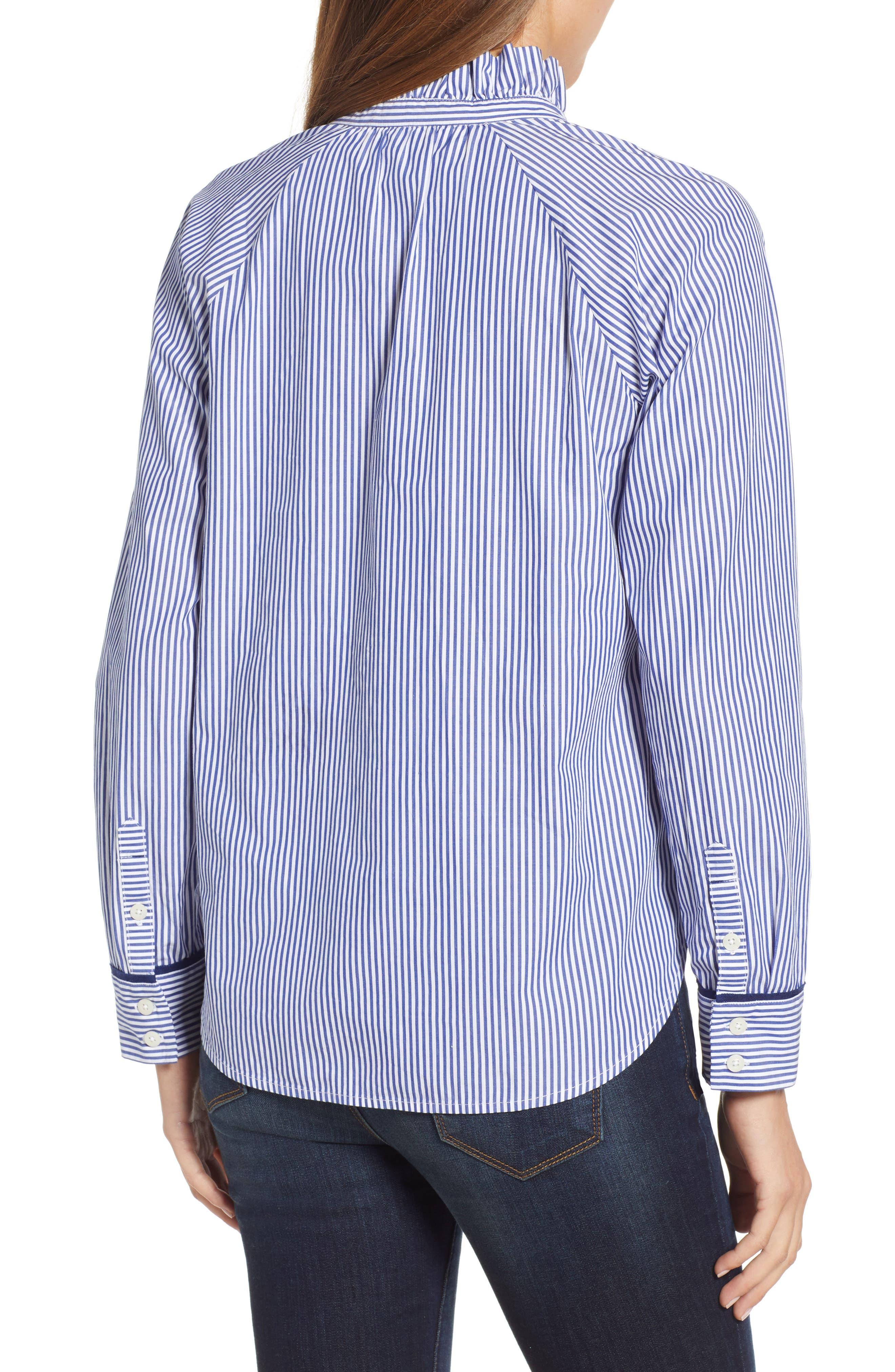 VINEYARD VINES,                             Stripe Ruffle Shirt,                             Alternate thumbnail 2, color,                             474