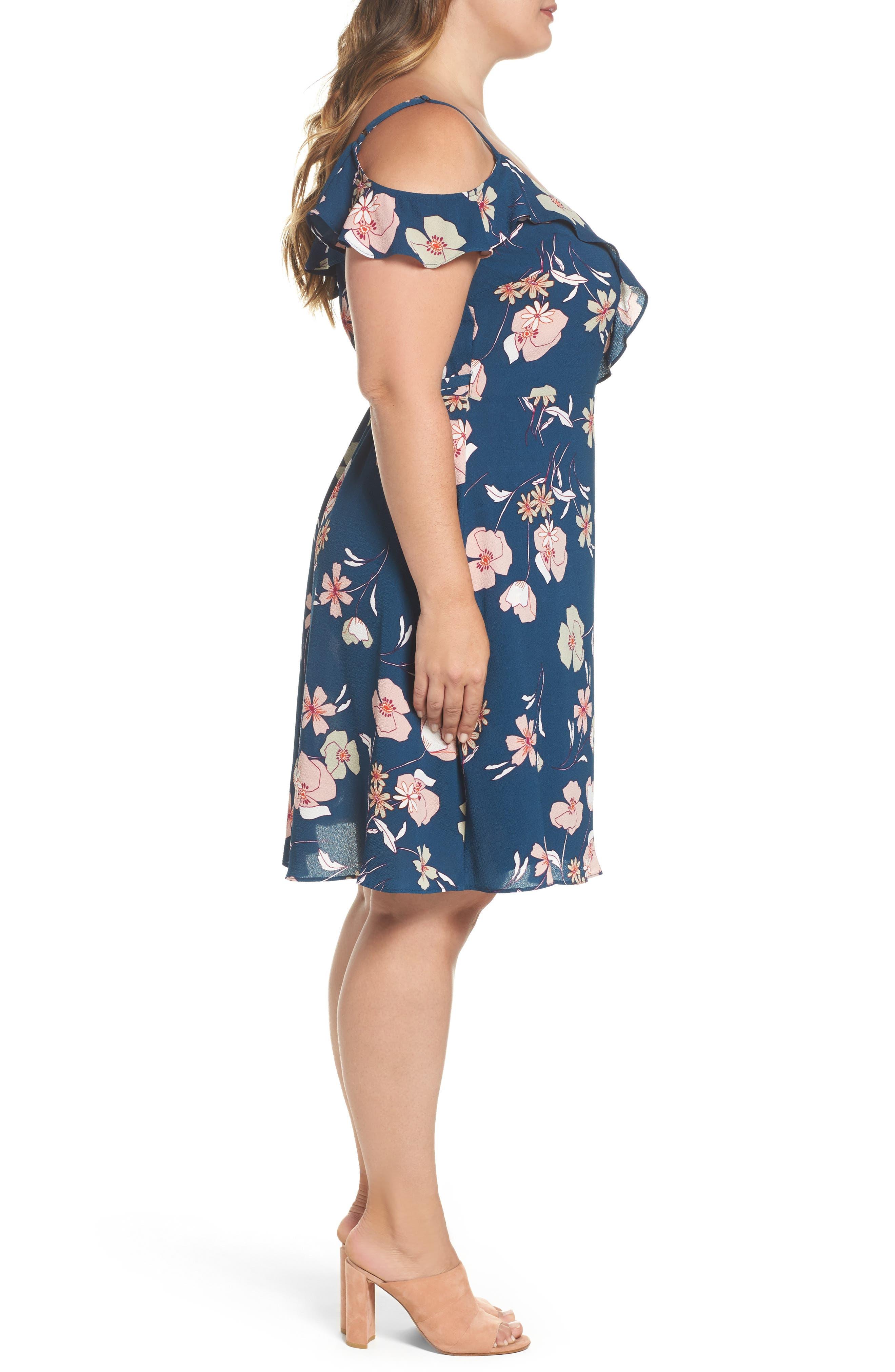 Lulu Floral Wrap Dress,                             Alternate thumbnail 3, color,                             656