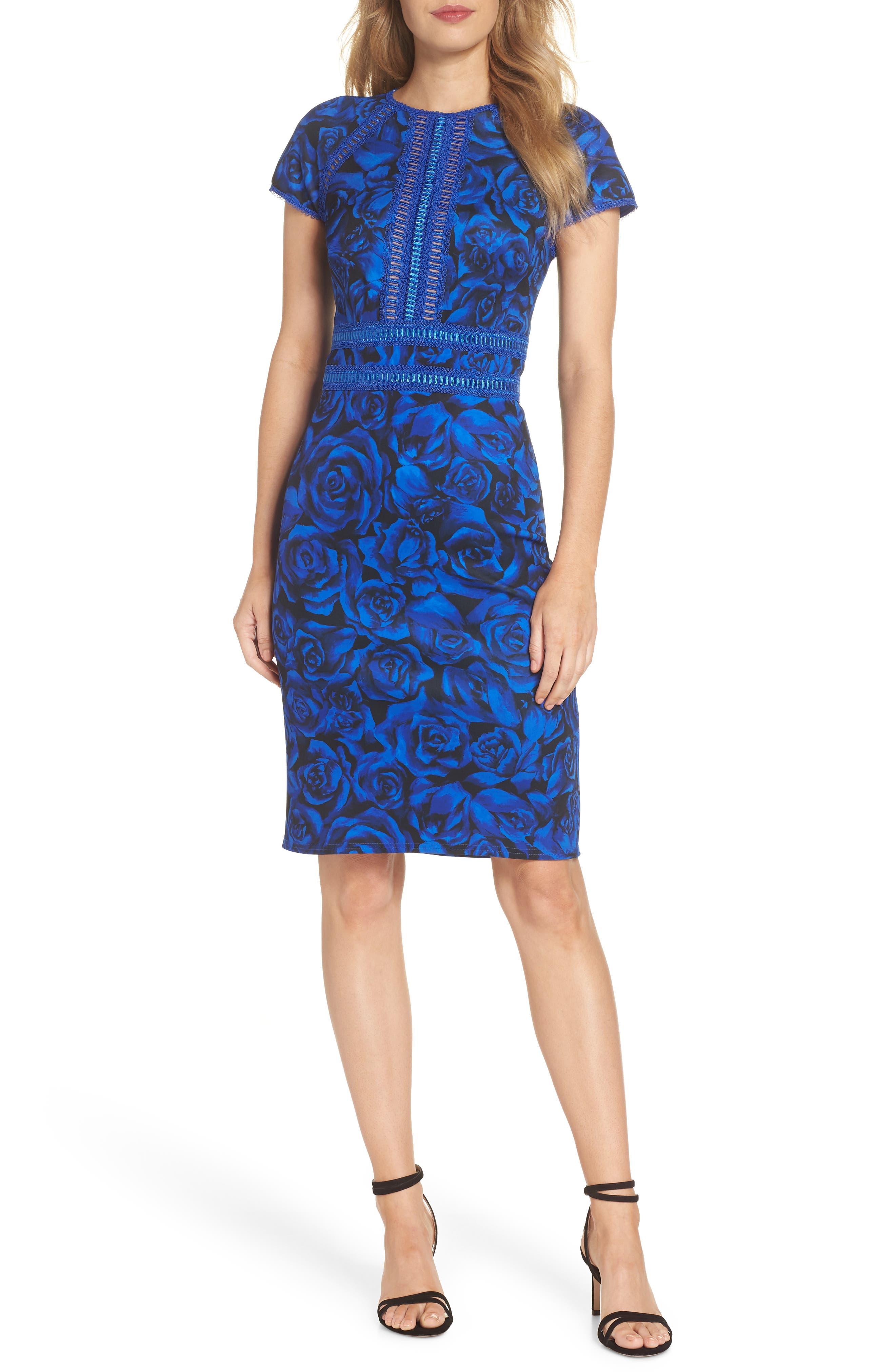 Floral Print Body-Con Dress,                         Main,                         color, ROYAL/ BLACK