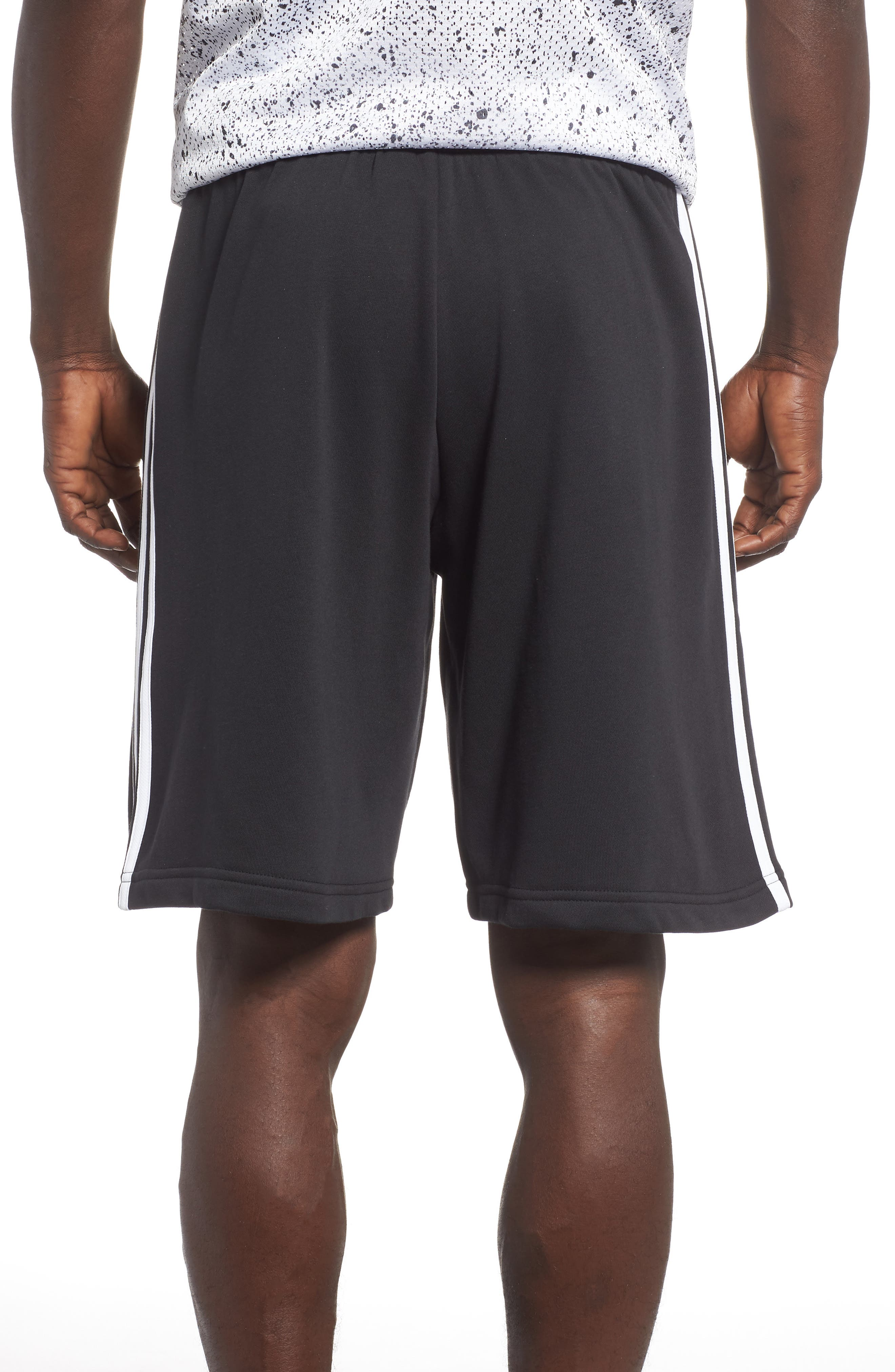 ADIDAS,                             Essentials French Terry Shorts,                             Alternate thumbnail 2, color,                             BLACK/ WHITE
