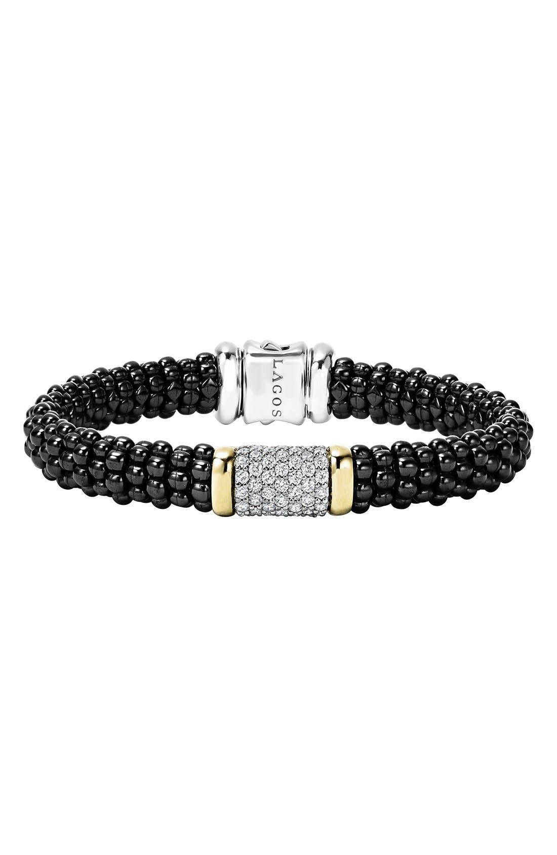 Black Caviar Diamond Pavé Rope Bracelet,                         Main,                         color, BLACK CAVIAR/ GOLD