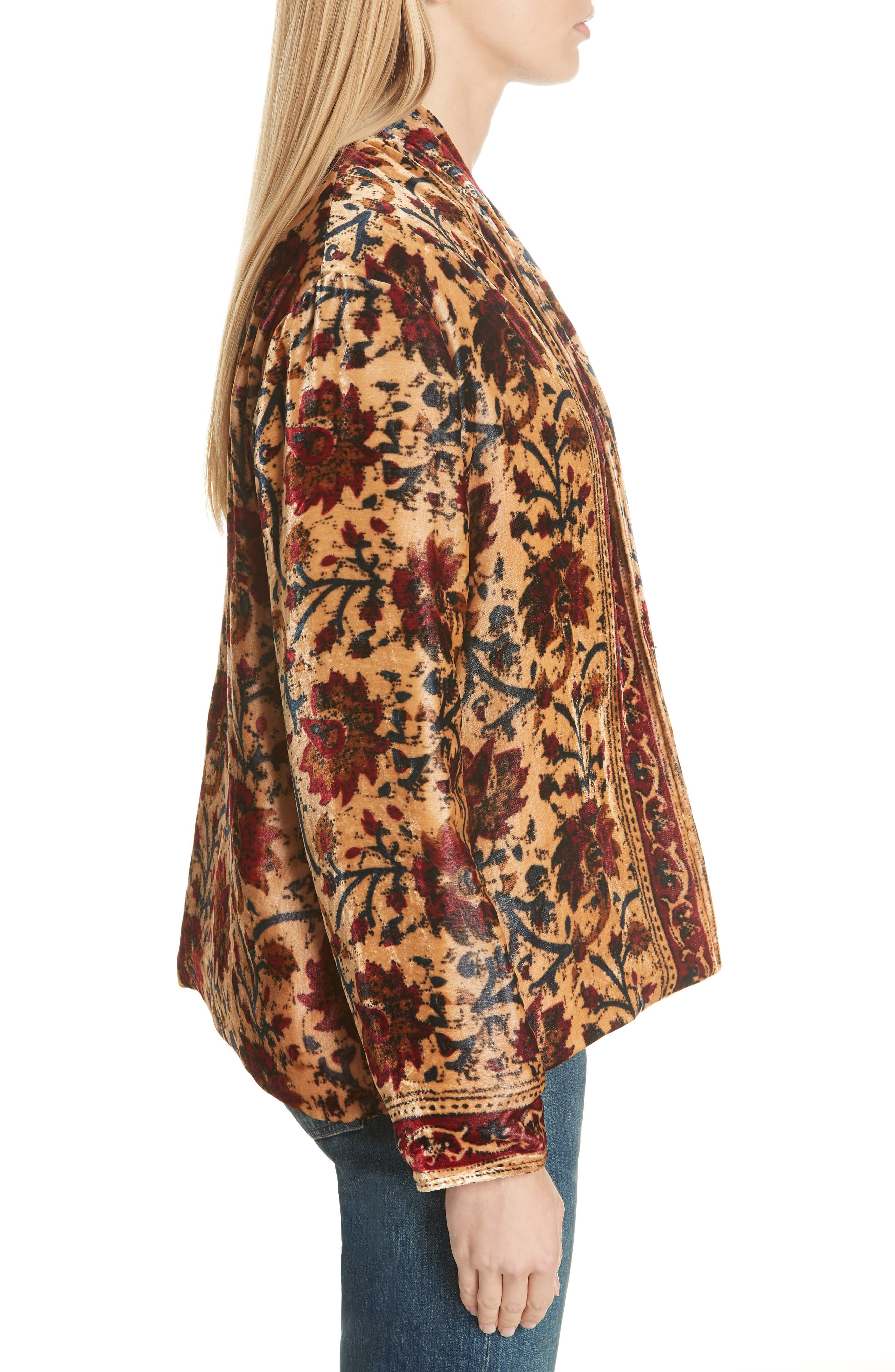 Charles Floral Cotton Velvet Jacket,                             Alternate thumbnail 3, color,                             291