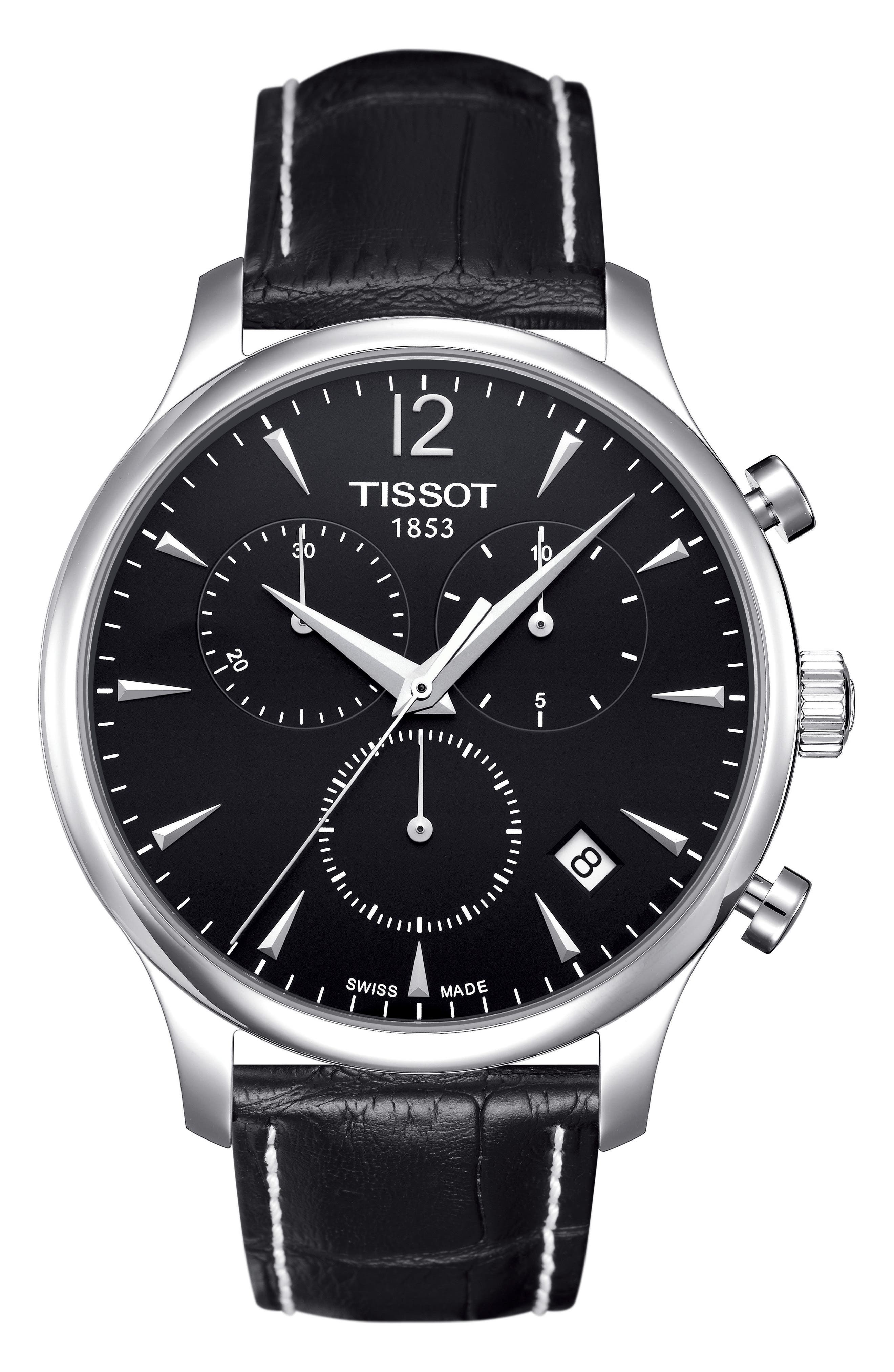 Tradition Chronograph Leather Strap Watch, 42mm,                         Main,                         color, BLACK/ SILVER