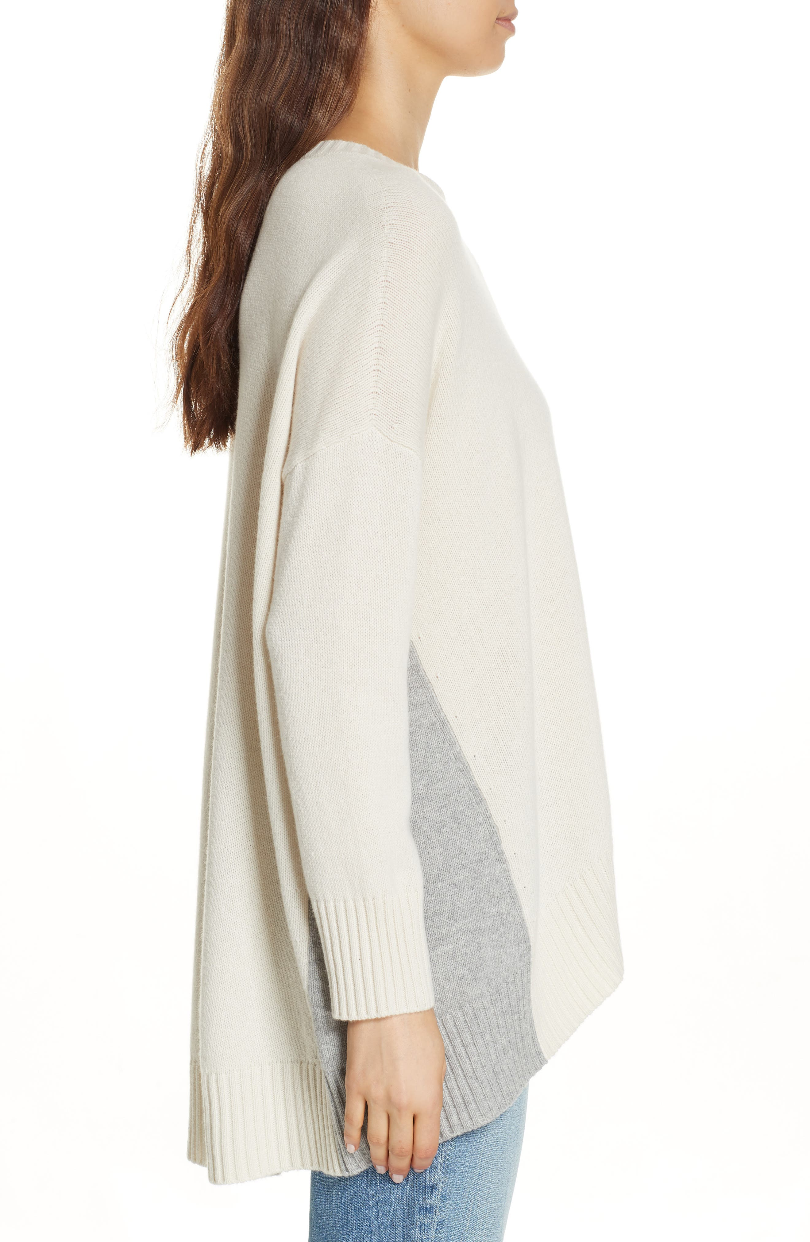 Oversize Cashmere & Wool Sweater,                             Alternate thumbnail 3, color,                             SOFT WHITE/ DARK PEARL