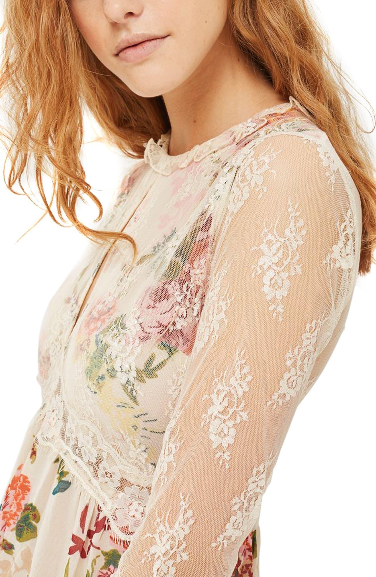 Lace Tier Floral Midi Dress,                             Alternate thumbnail 3, color,                             900
