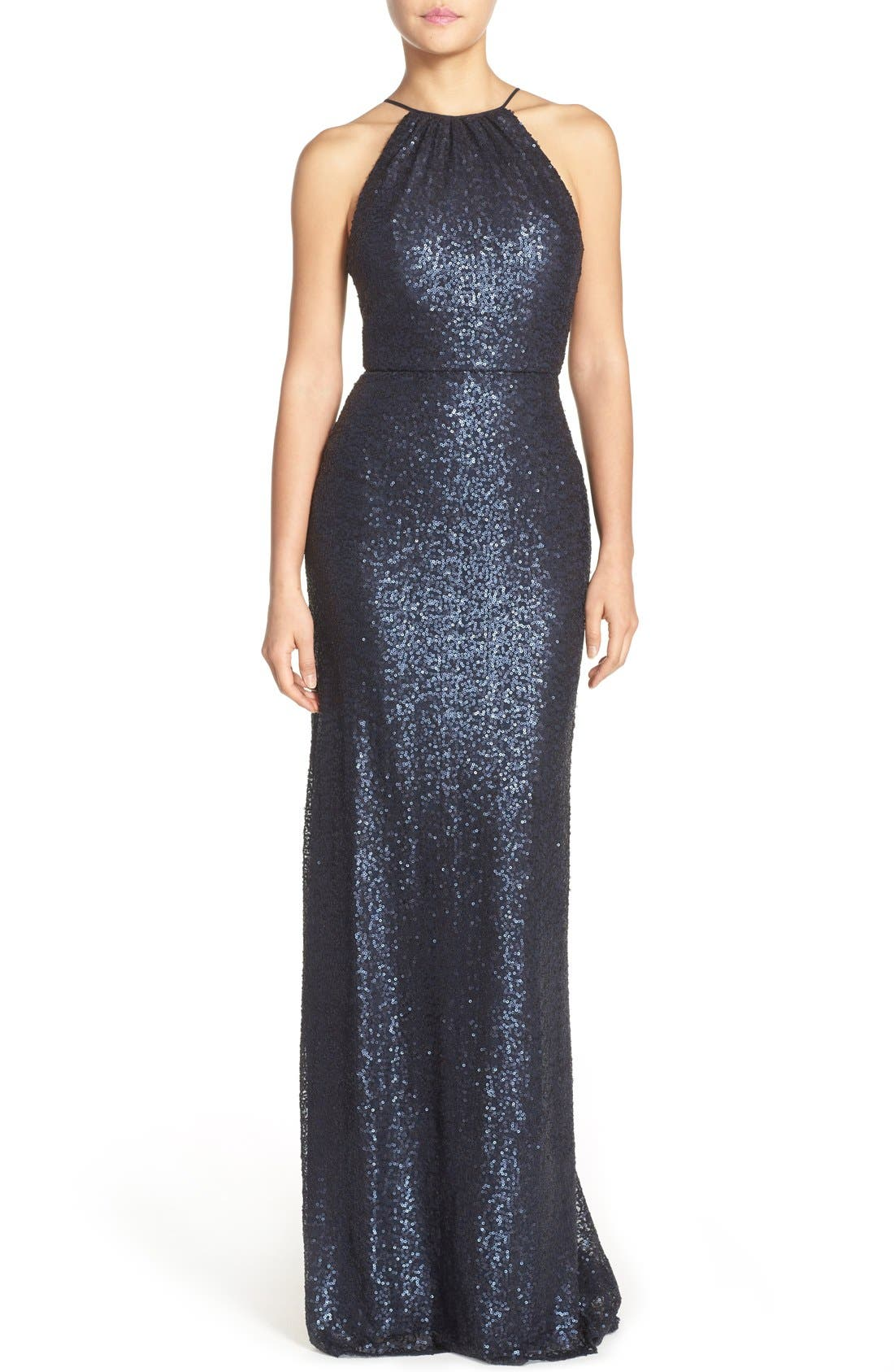 'Chandler' Sequin Tulle Halter Style Gown,                             Main thumbnail 4, color,