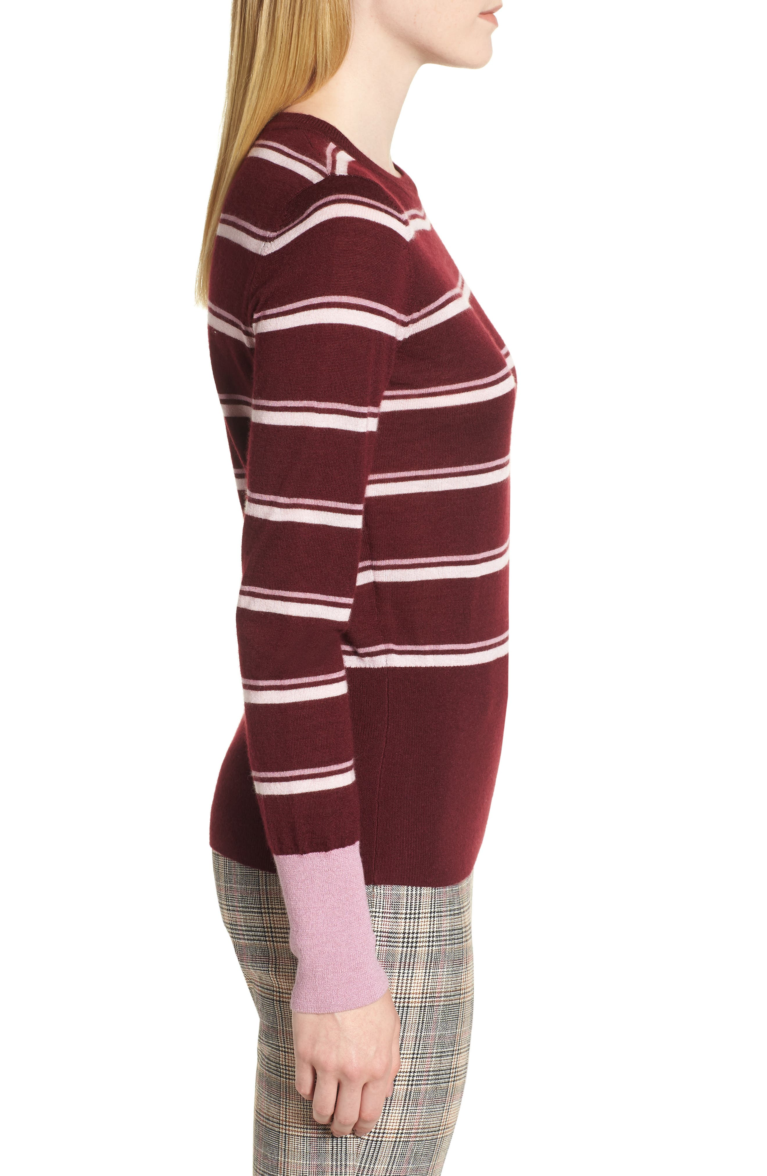 Stripe Cashmere Sweater,                             Alternate thumbnail 3, color,                             BURGUNDY STEP STRIPE