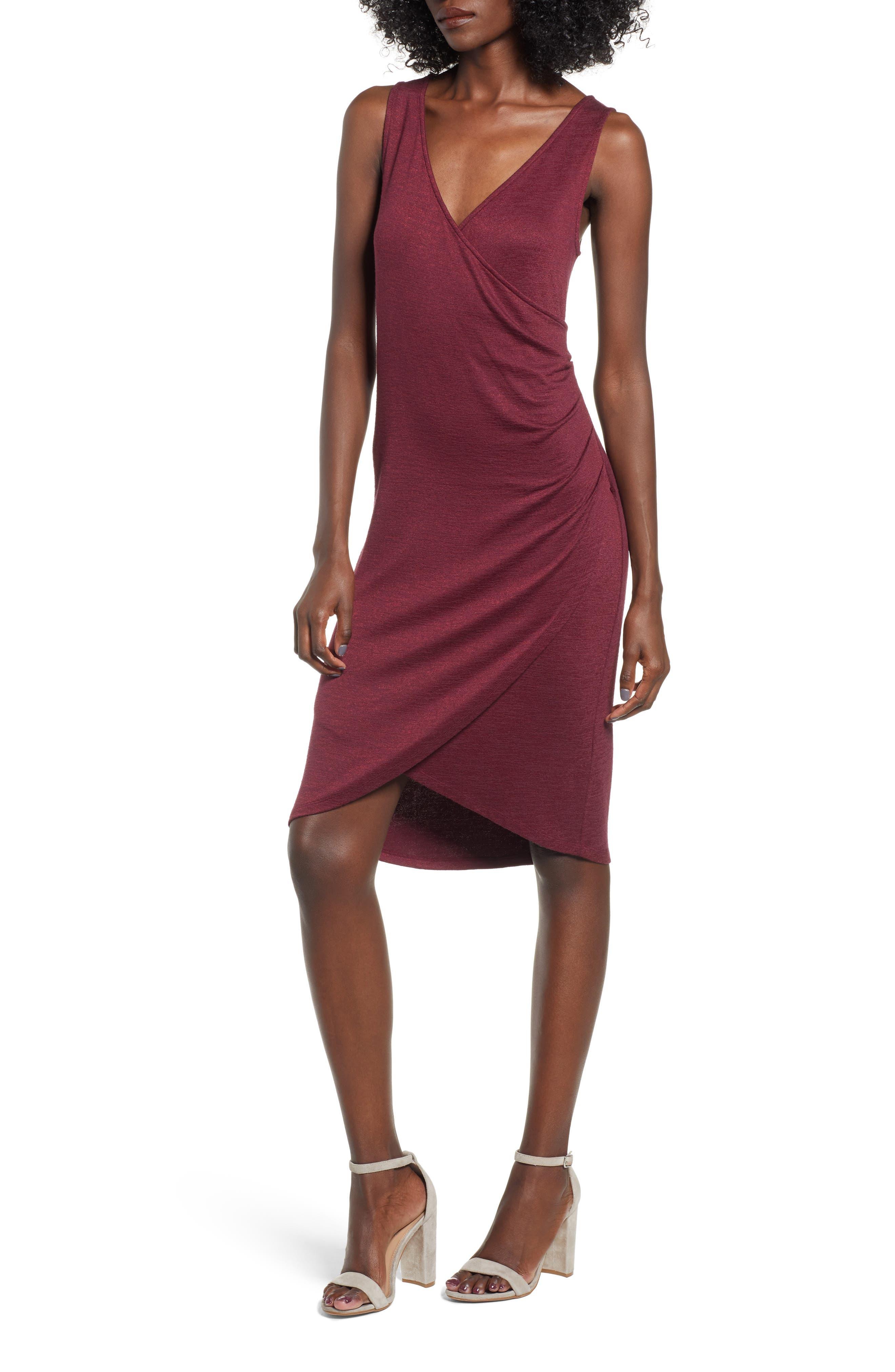 Leith Melange Wrap Dress, Red